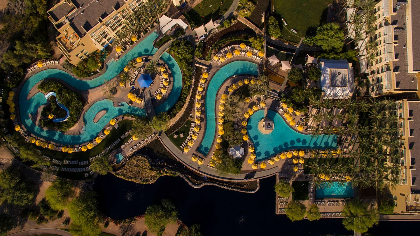 JW Marriott Phoenix Desert Ridge's pool complex and lazy river ~ Best Hotel Lazy Rivers