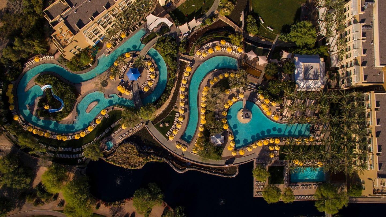 JW Marriott Phoenix Desert Ridge's pool complex and lazy river ~ Best Hotel Lazy Rivers