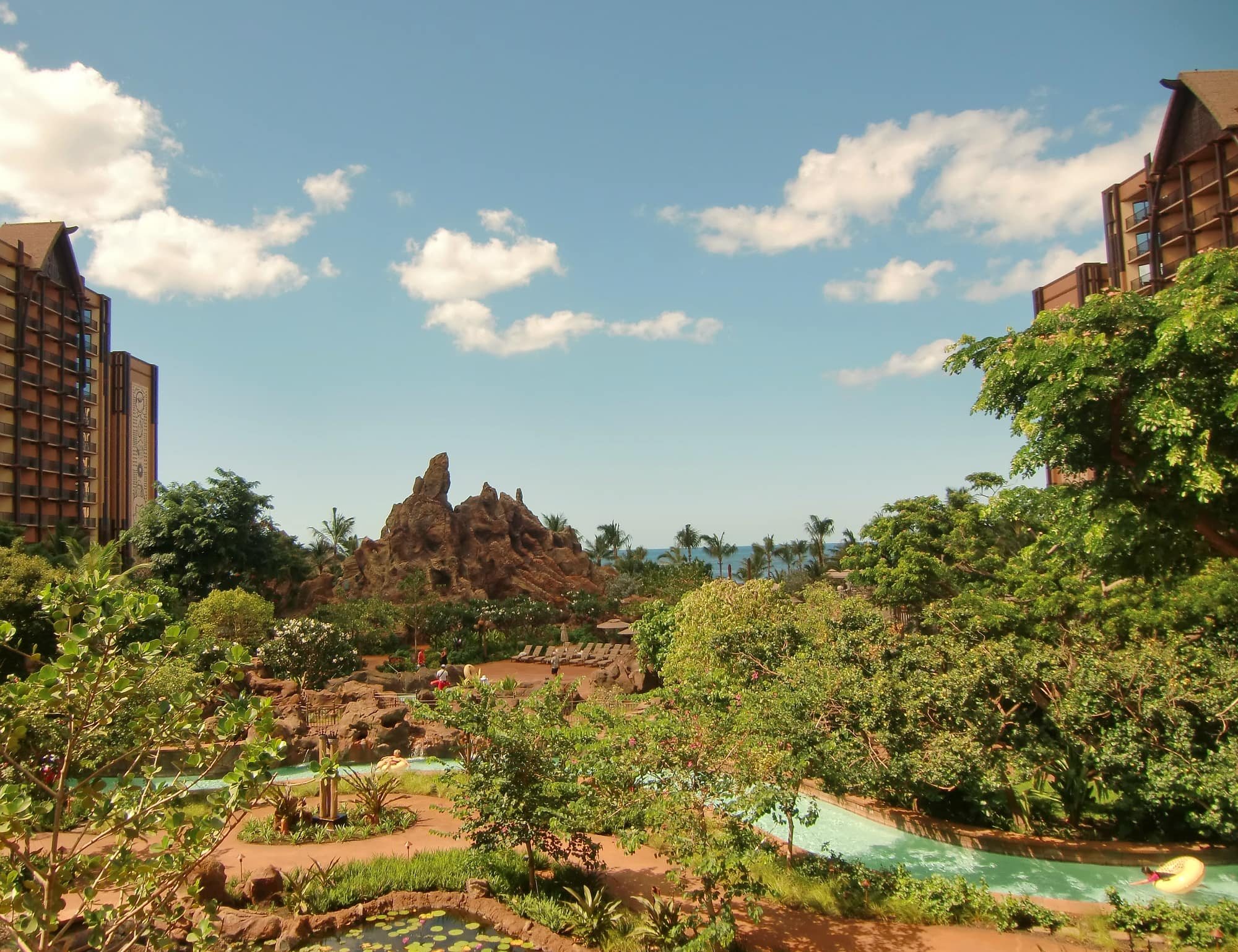 Waikolohe Stream meanders through Aulani's impressive pool area ~ Best Hotels with Lazy Rivers