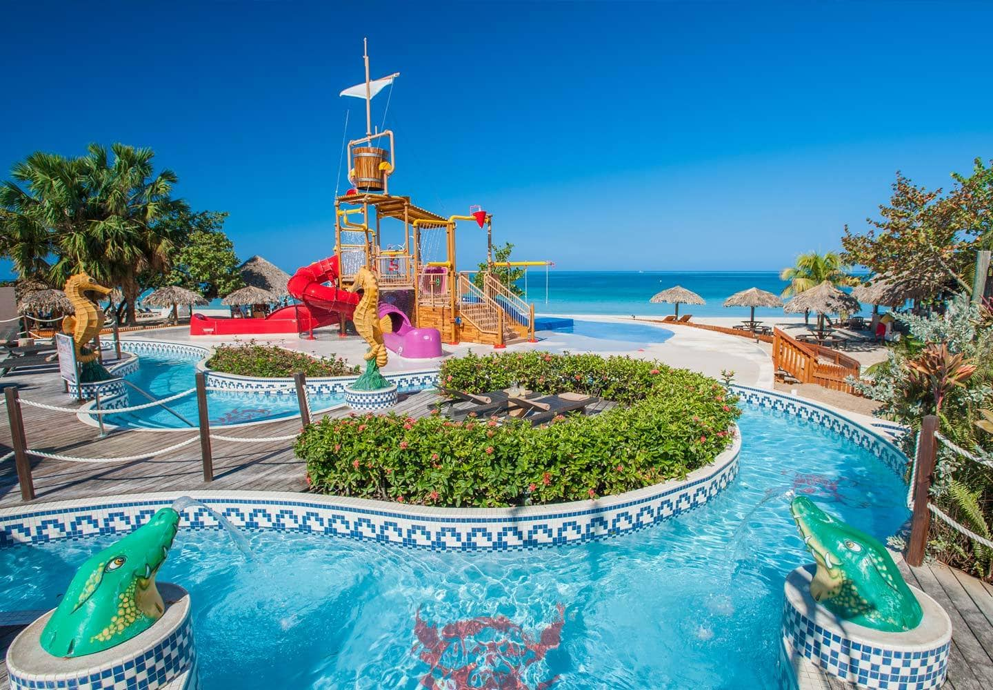 Beaches Negril's lazy river is just one fabulous part of their on-site waterpark ~ Best hotels with lazy rivers