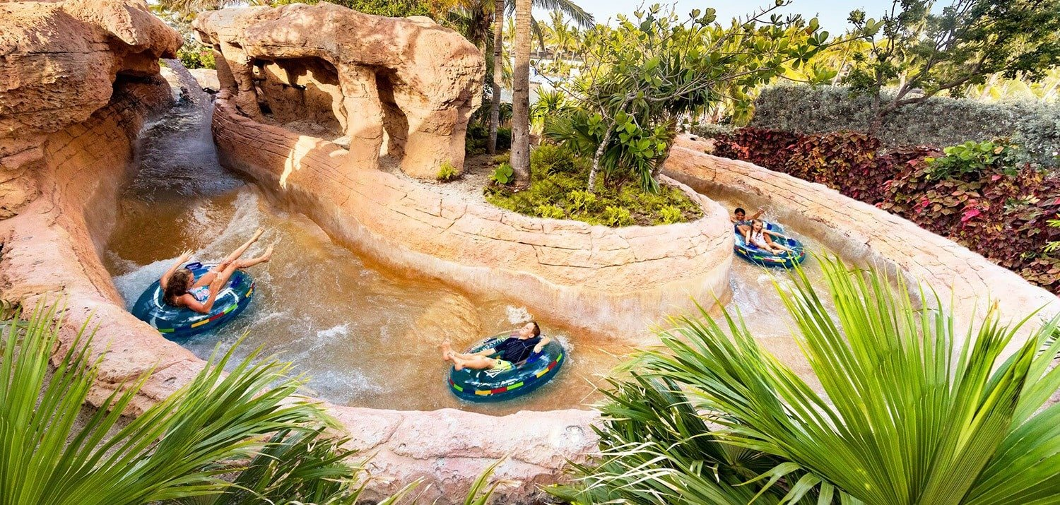 Take your pick of two rivers at Atlantis Paradise Island - one lazy and one thrilling ~ Best hotels with lazy rivers