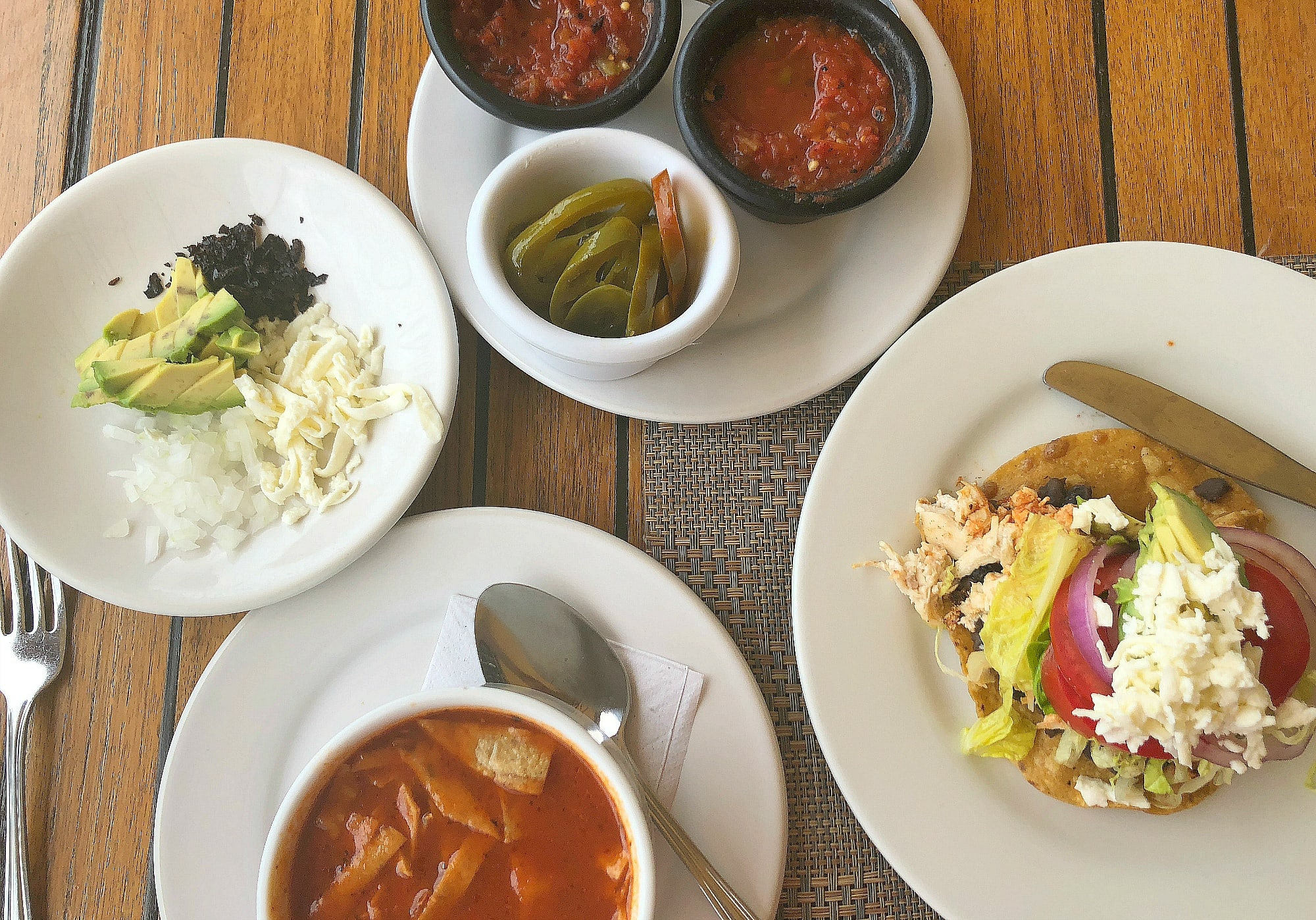Azteca (tortilla) soup with all the fixings plus a chicken tostada at El Pegaso