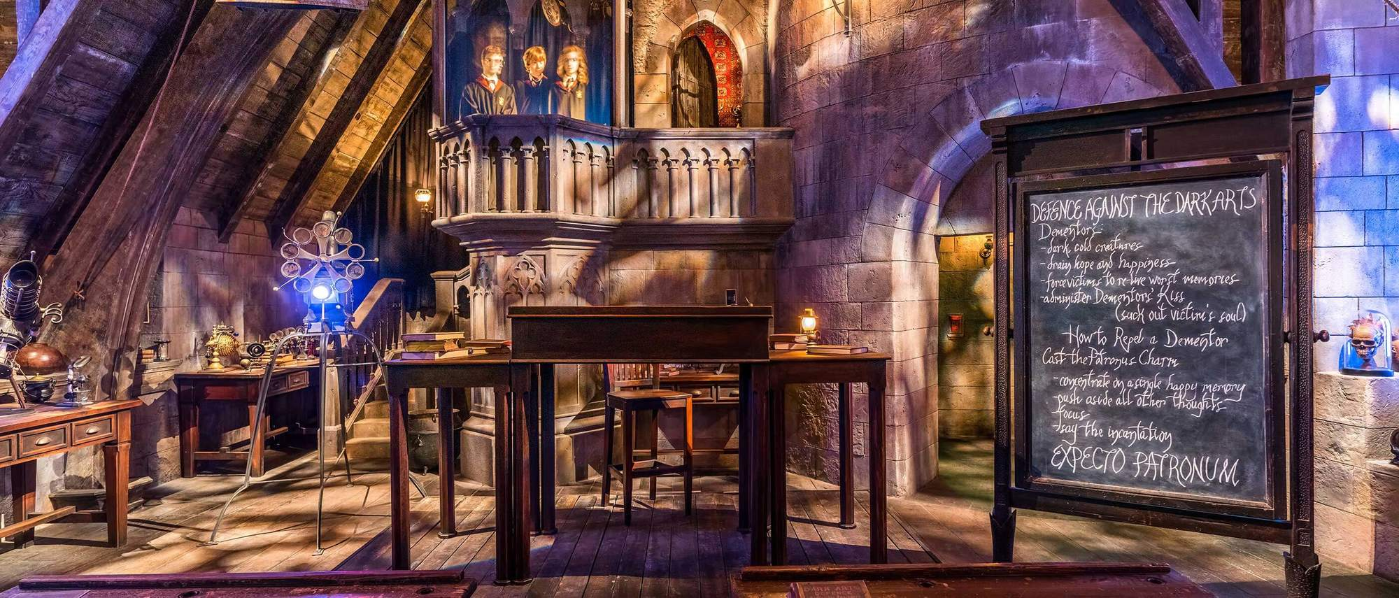Wander past the Defense Against the Dark Arts classroom while waiting in line for Harry Potter and the Forbidden Journey
