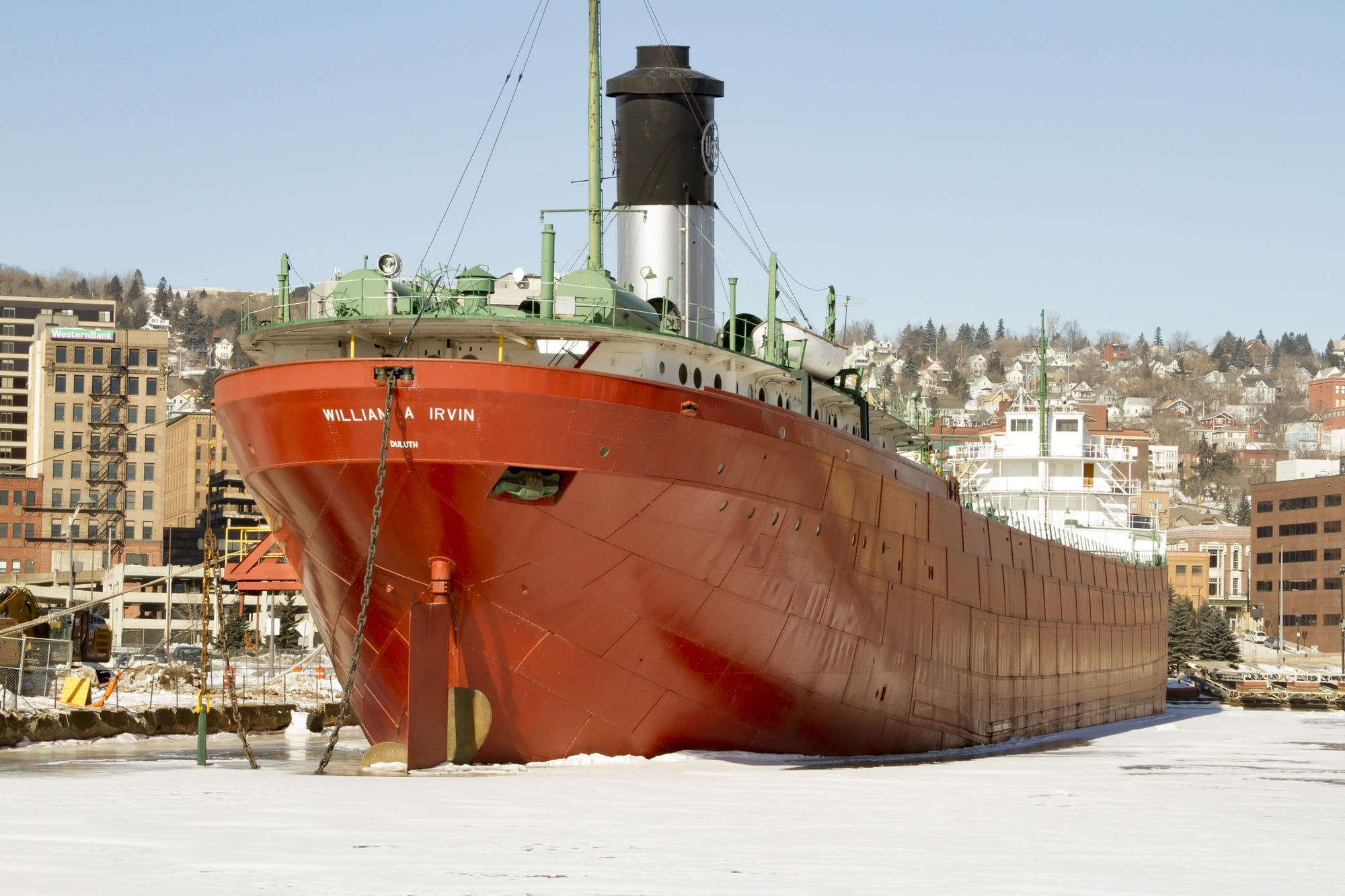 S.S. William A. Irvin Ore Boat Museum in winter in Duluth, Minnesota