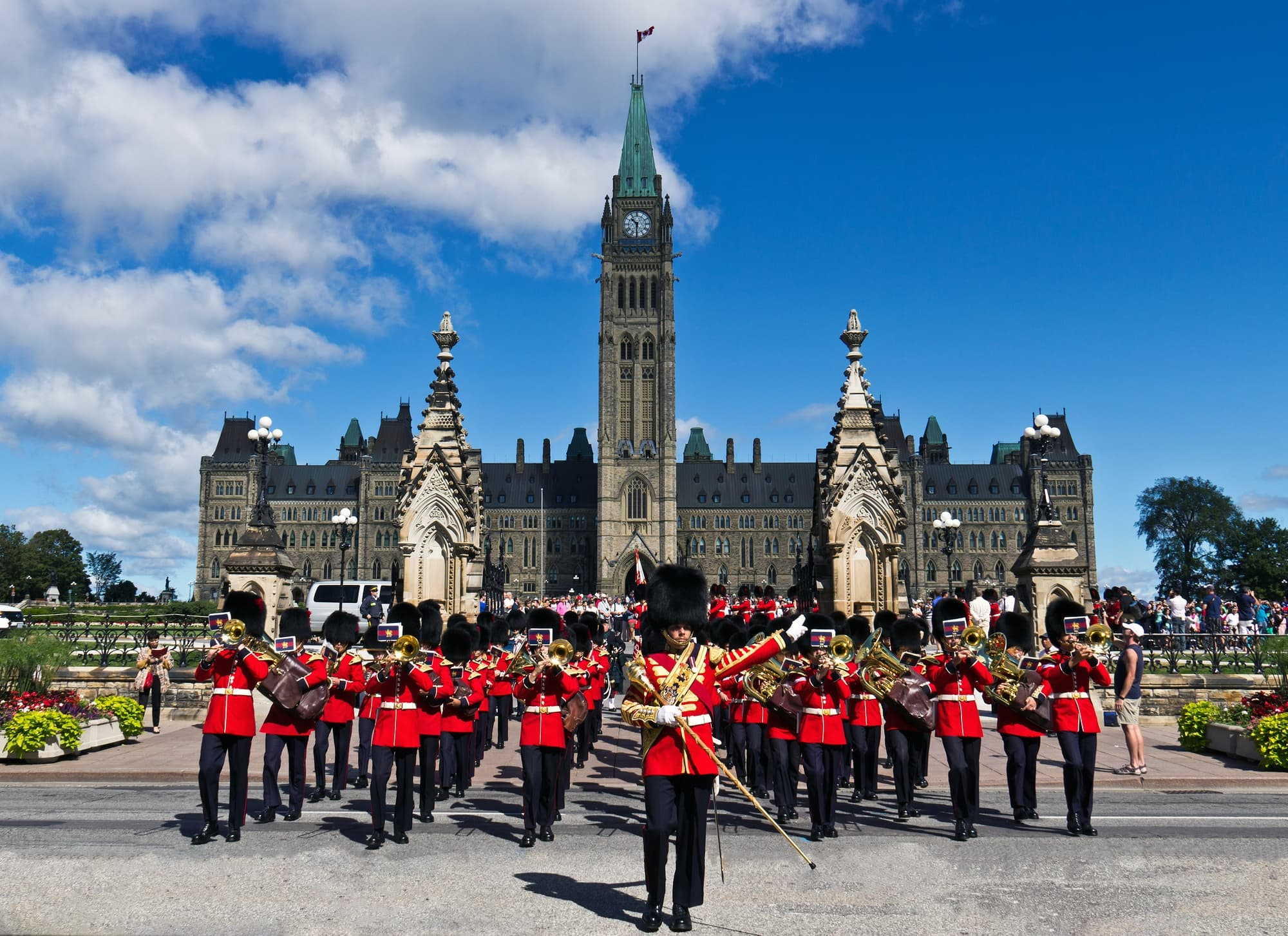 Families enjoy watching the Changing of the Guard in Ottawa