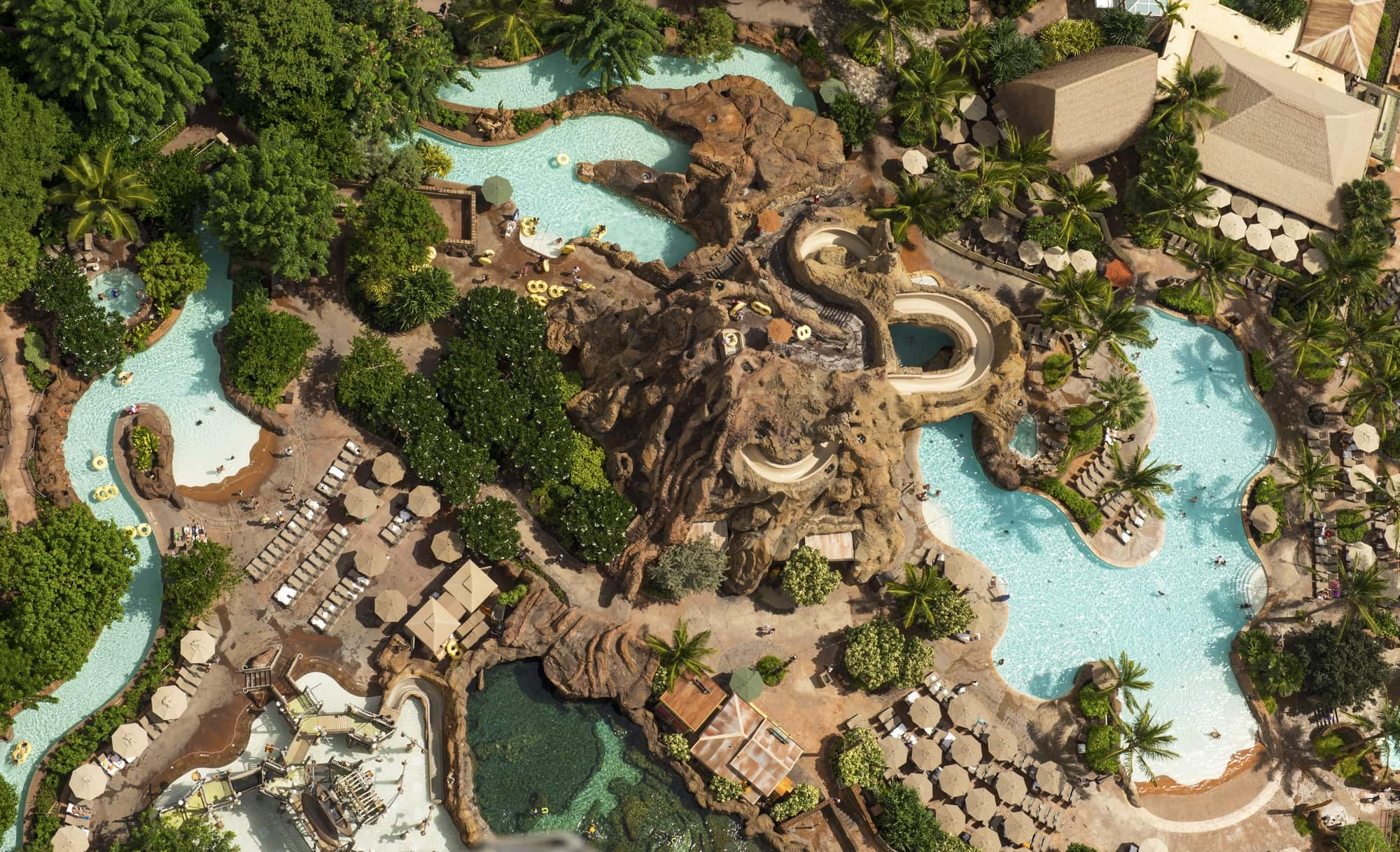 Disney Aulani's Waikolohe Valley includes waterslides and whirlpool spas