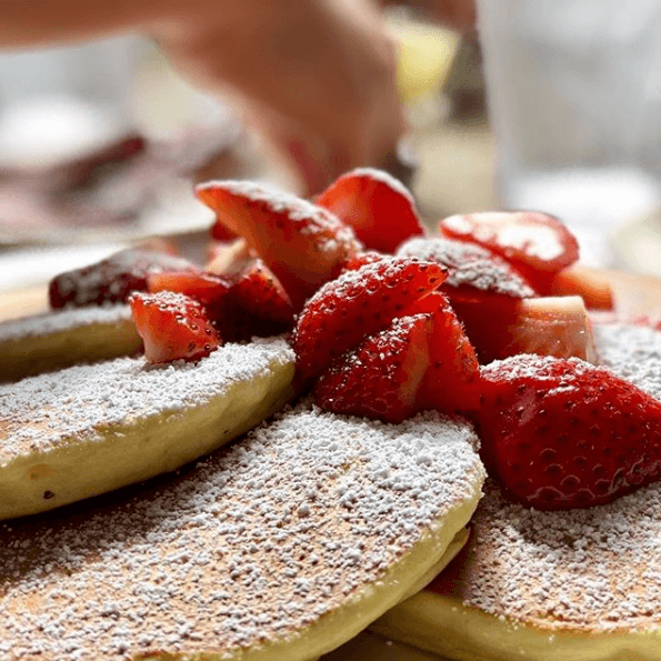 Mmm...strawberry pancakes from Richard Walker's Pancake House in San Diego's Gaslamp Quarter
