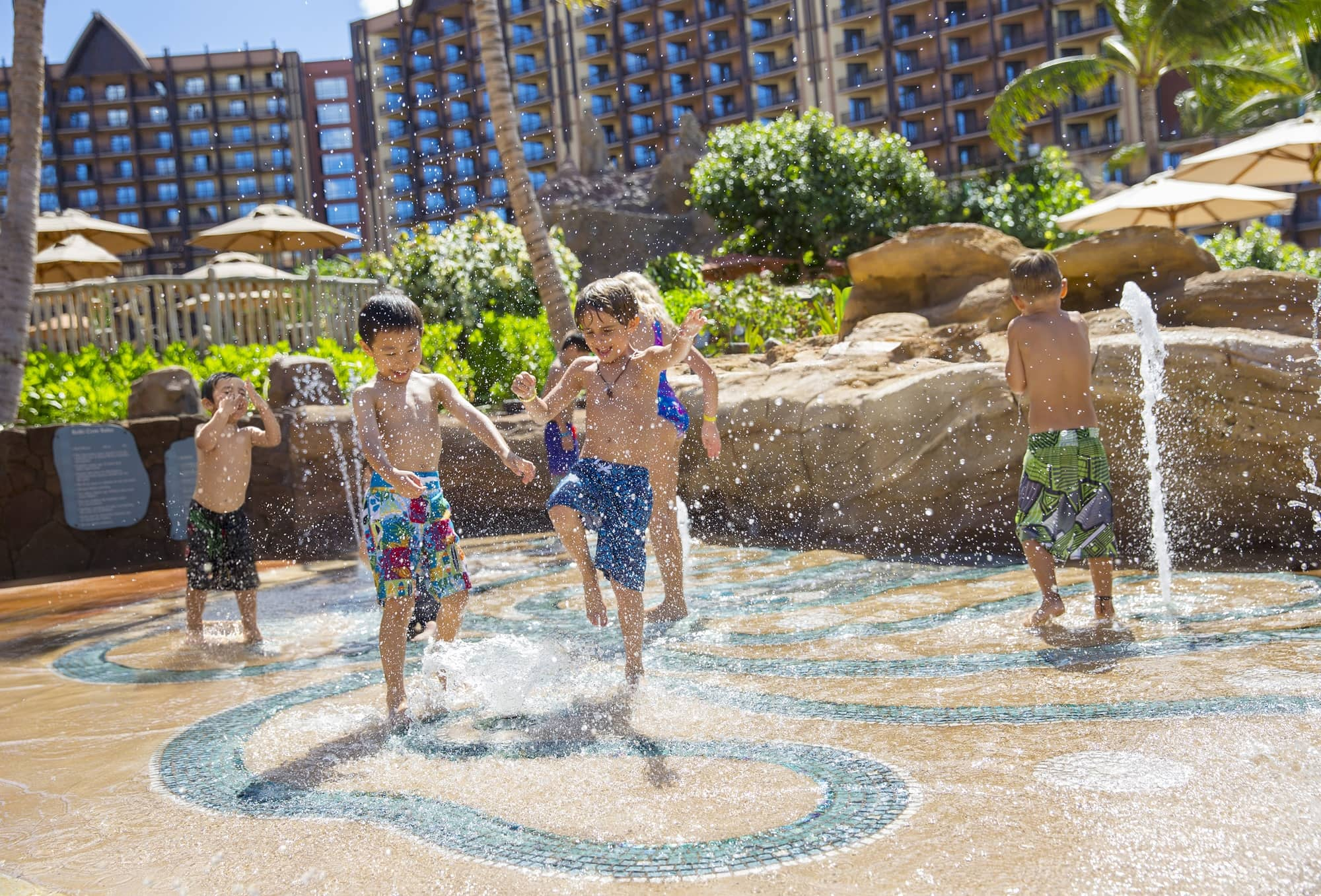 Keiki Cove at Disney Aulani splash area was created especially for young children