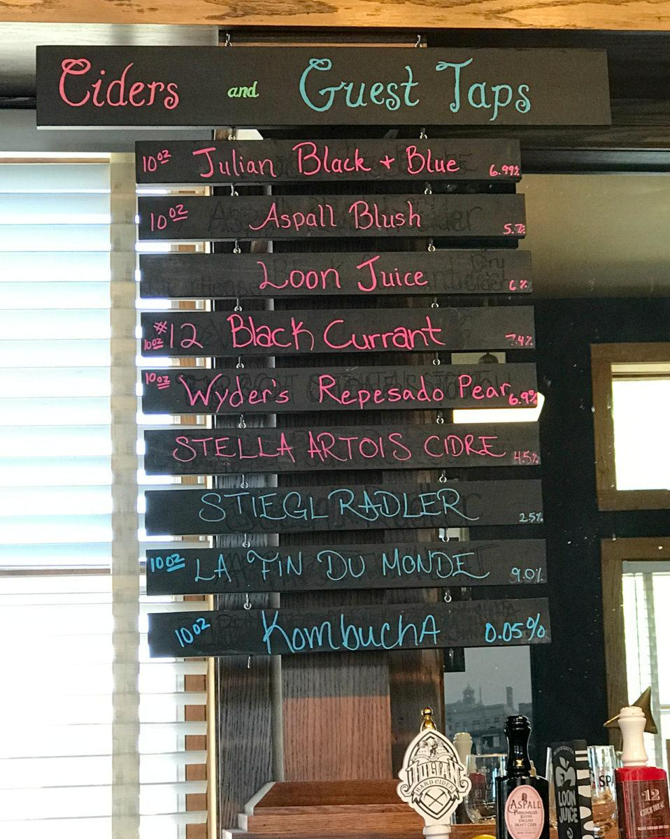 Choose from a variety of craft ciders at Endion Station in Duluth, Minnesota