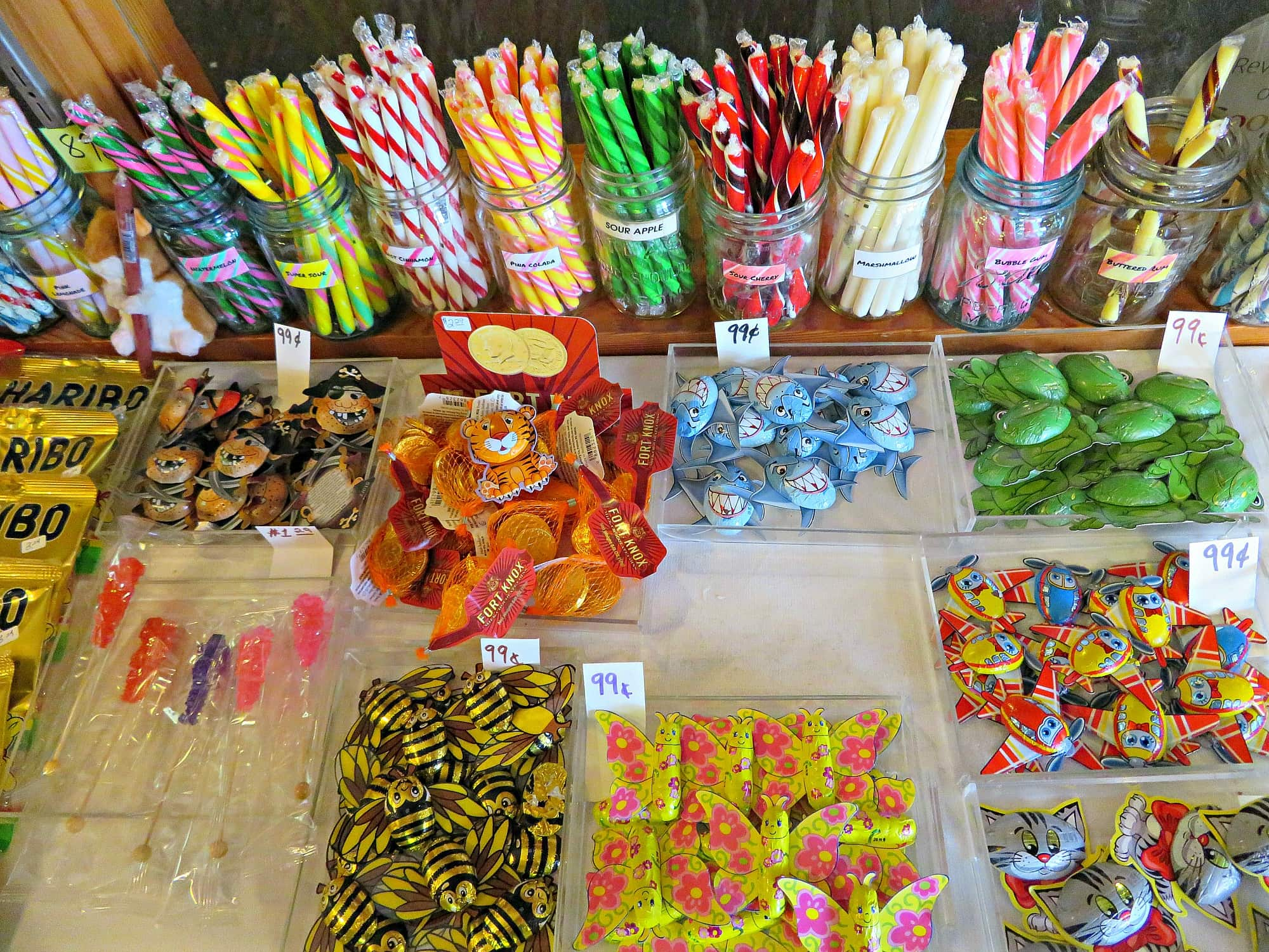 Some of the colorful candies at Hepzibah's Sweet Shop in Duluth with kids