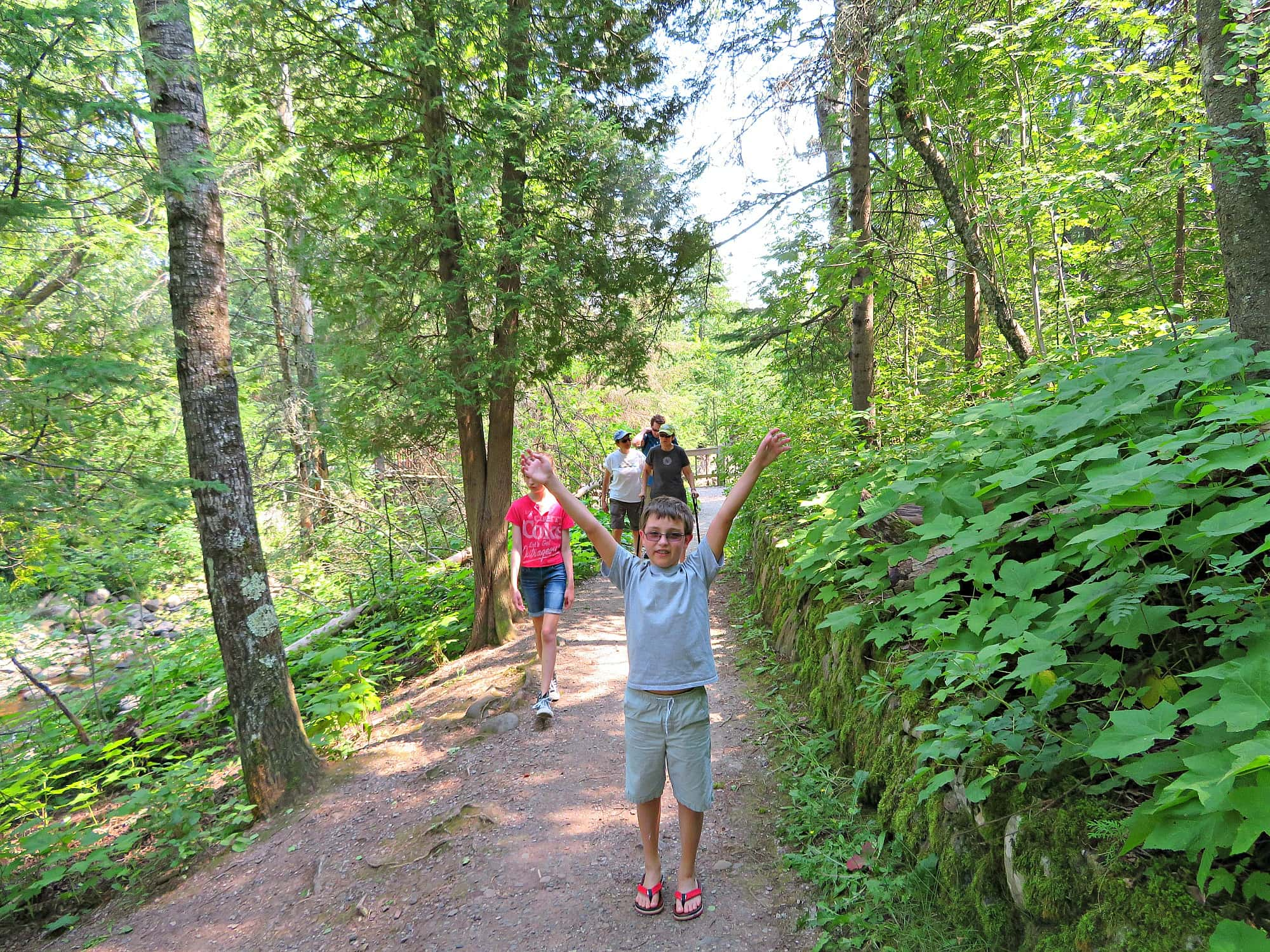 Enjoying one of Duluth's many hiking trails with kids