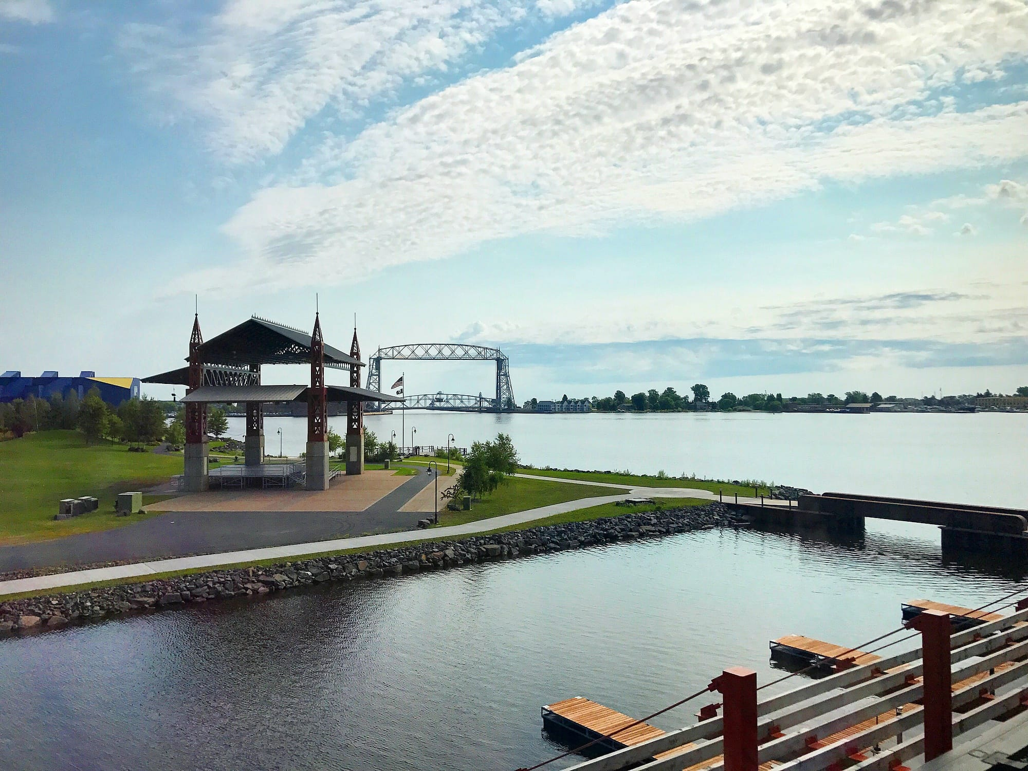 View of Bayfront Festival Park, Lake Superior and the Aerial Bridge from Pier B Resort in Duluth with kids