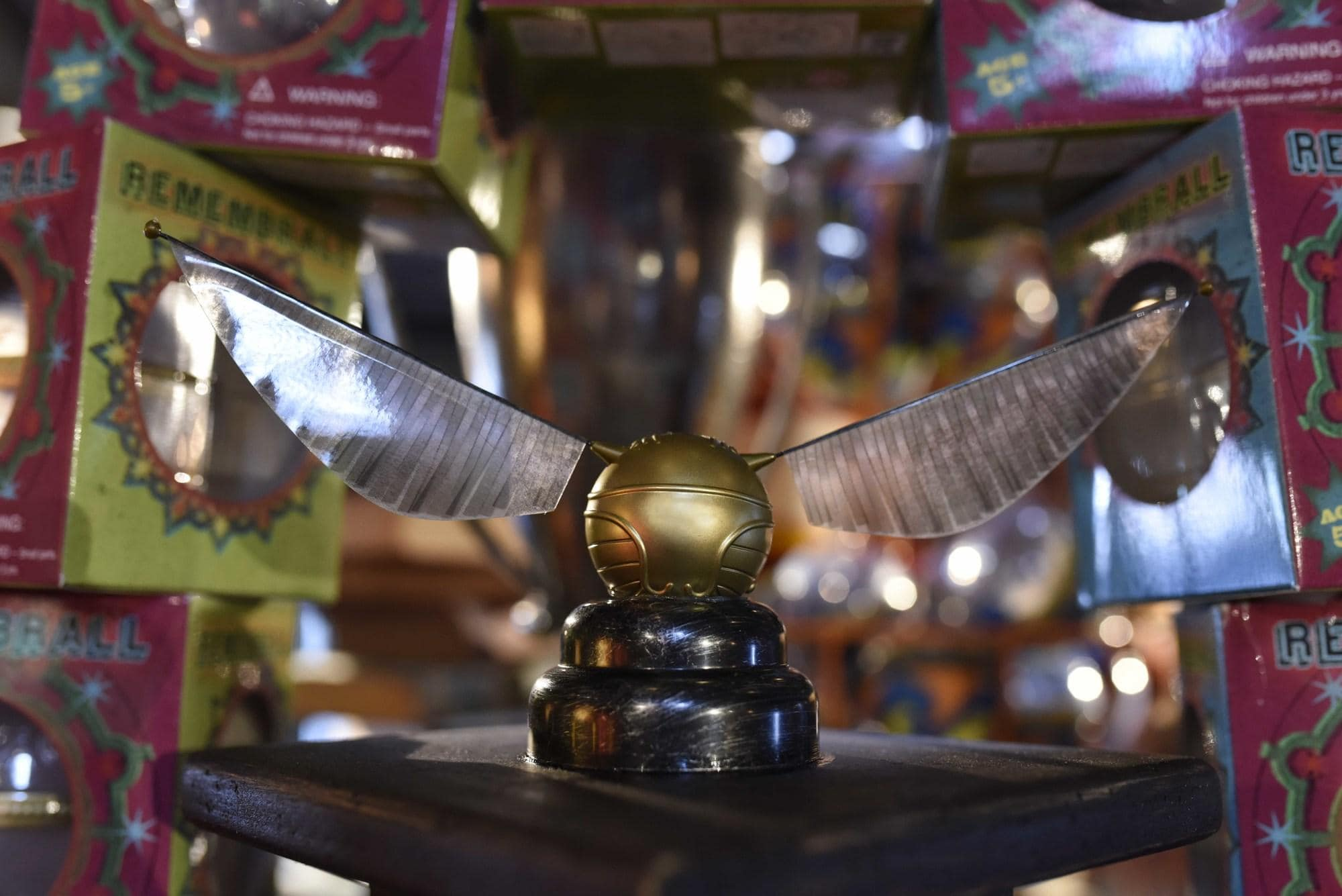 A golden snitch at Dervish and Banges at Universal Hollywood