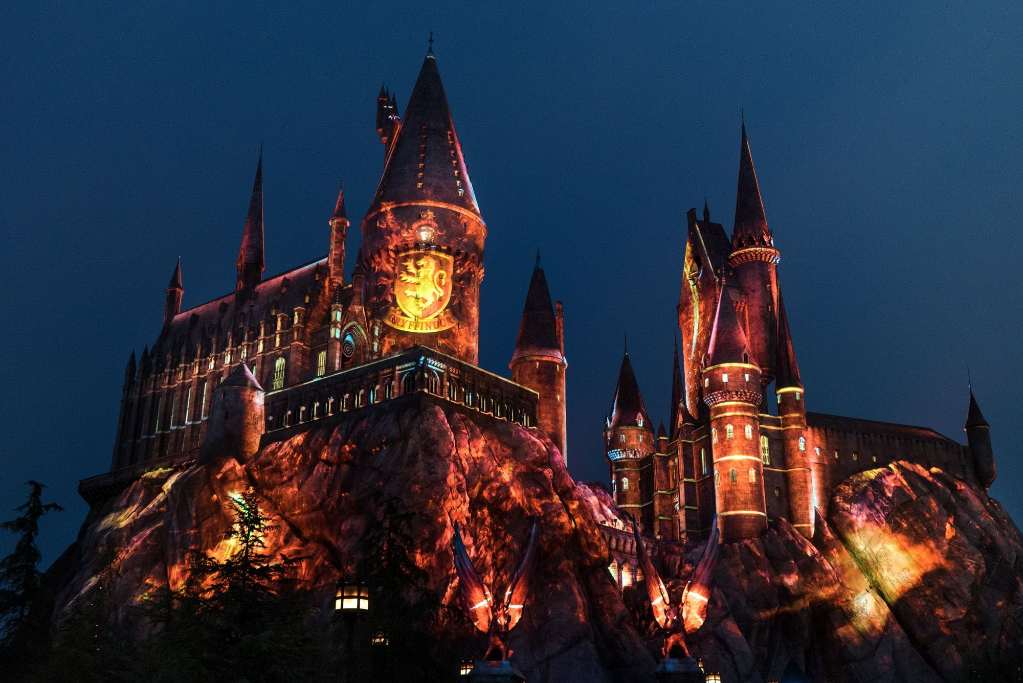 The Nighttime Lights at Hogwarts Castle at The Wizarding World of Harry Potter at Universal Hollywood