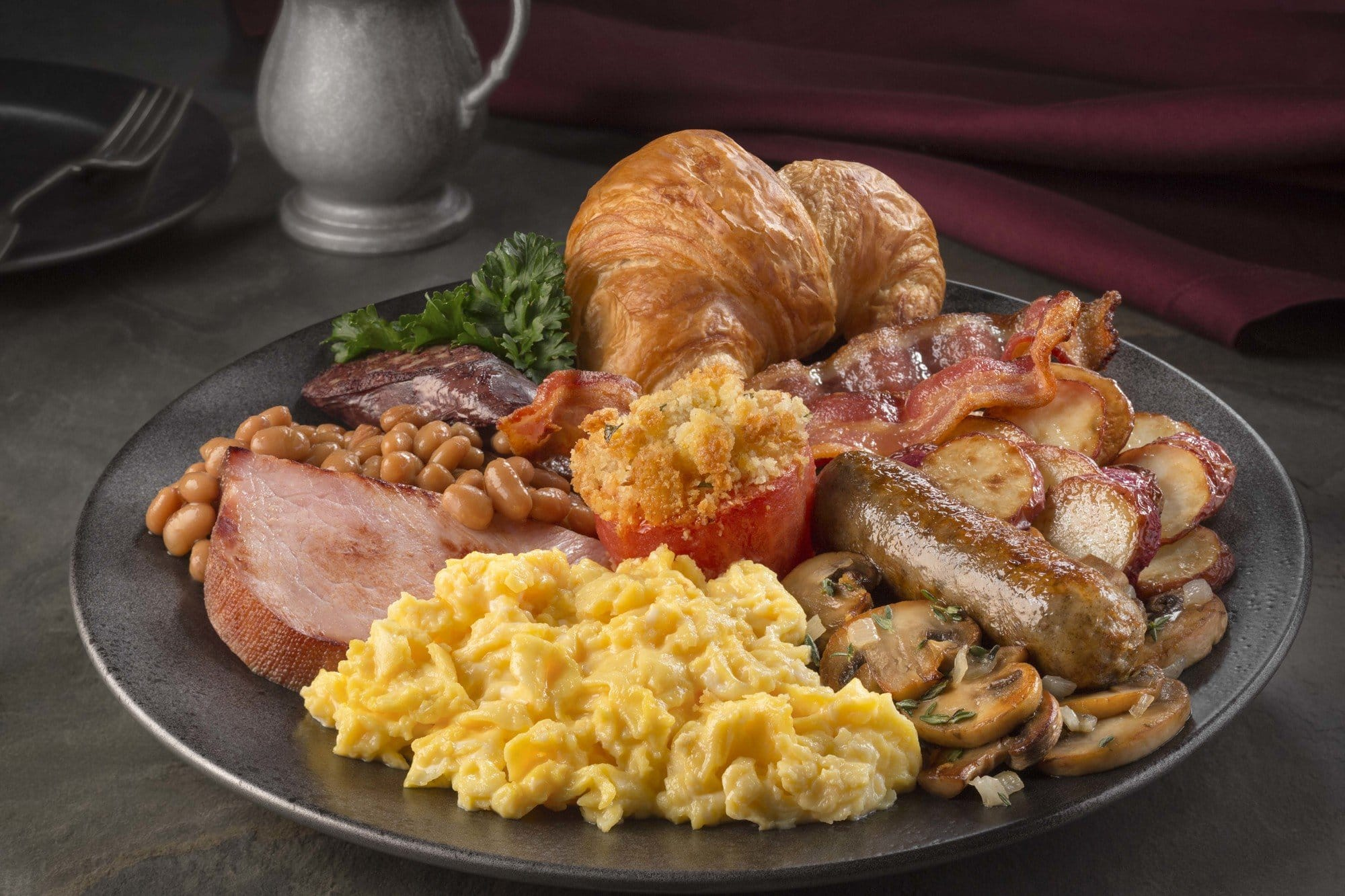 Traditional English breakfast at the Three Broomsticks at Universal Studios Hollywood
