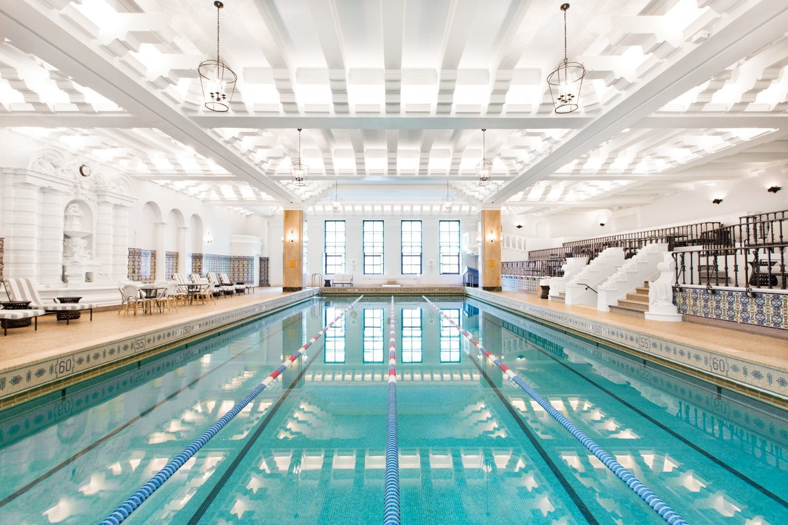 Junior Olympic pool at Chicago's historic InterContinental Hotel ~ Best Indoor Hotel Pools