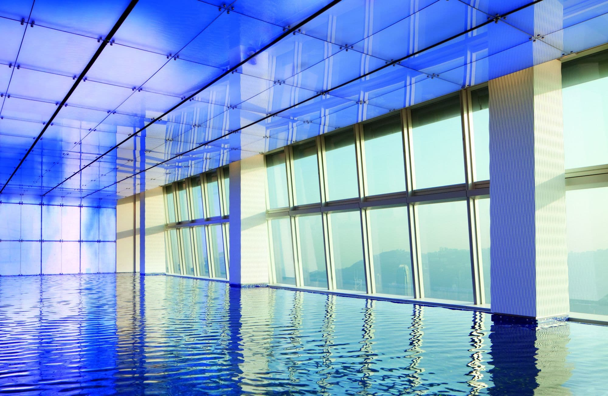 The indoor pool on the 118th floor of the Ritz-Carlton Hong Kong