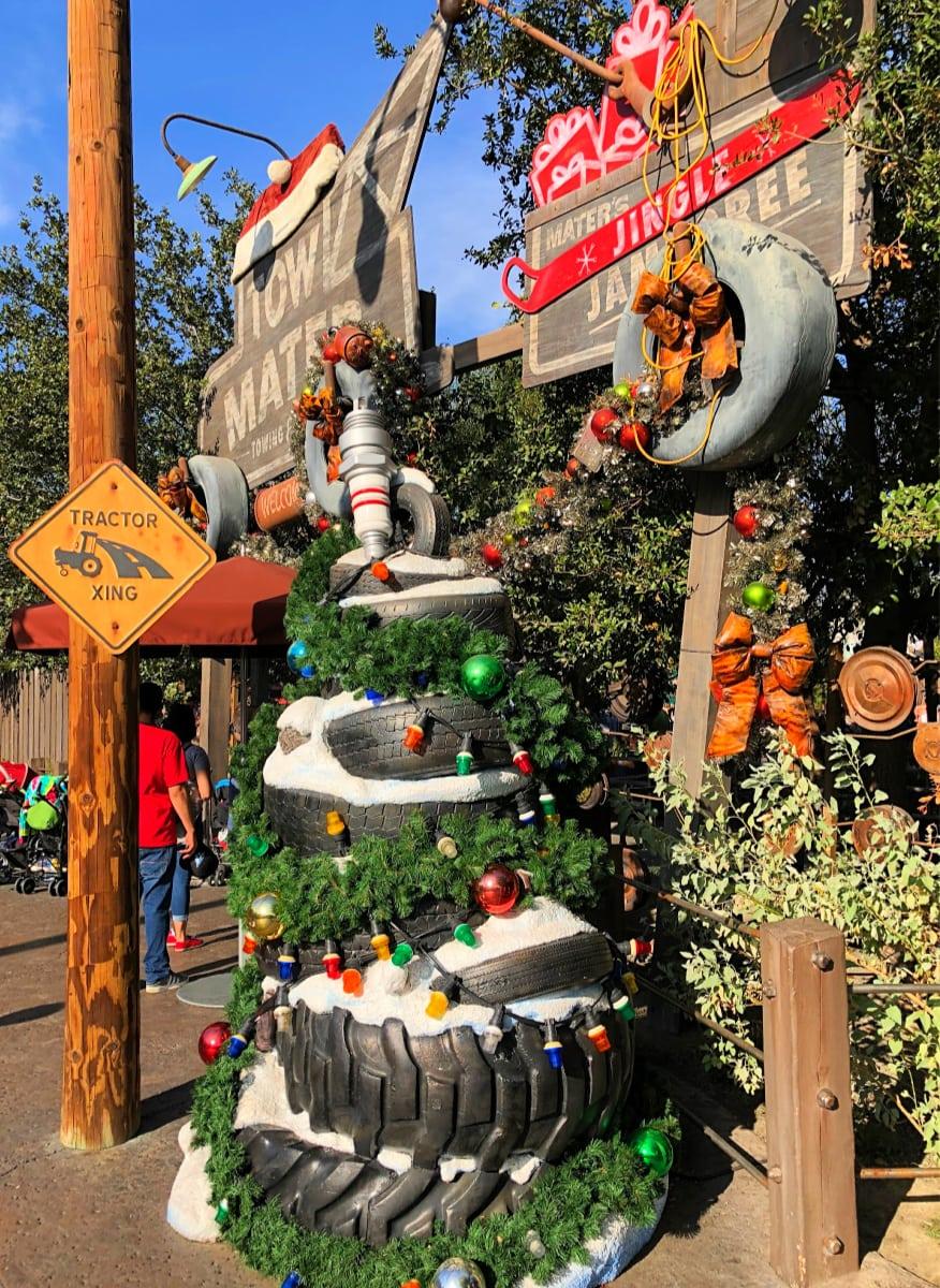 Cars Land festive holiday decorations at Disneyland