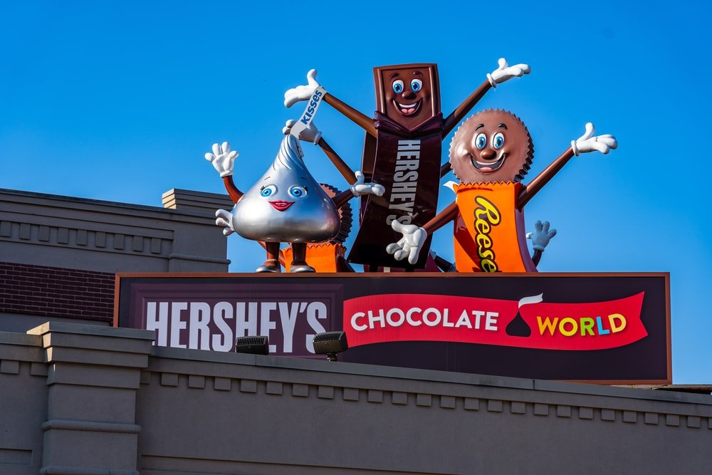 Hershey's candy characters greet visitors from the roof of Chocolate World in Hershey, Pennsylvania