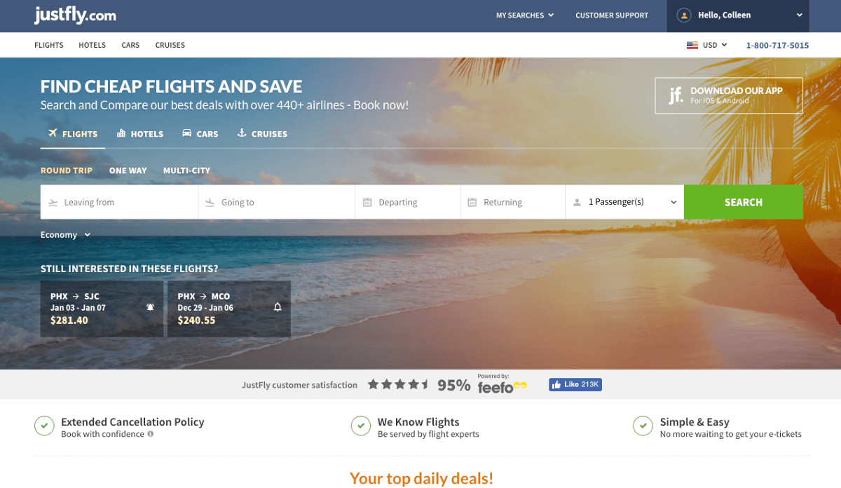 Save money on your family's flight with JustFly.com