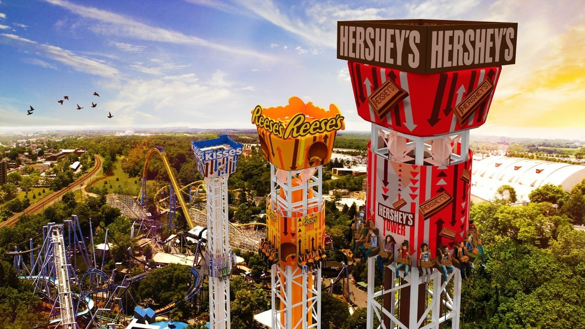 The Hershey Triple Tower thrill ride at Hershey Park