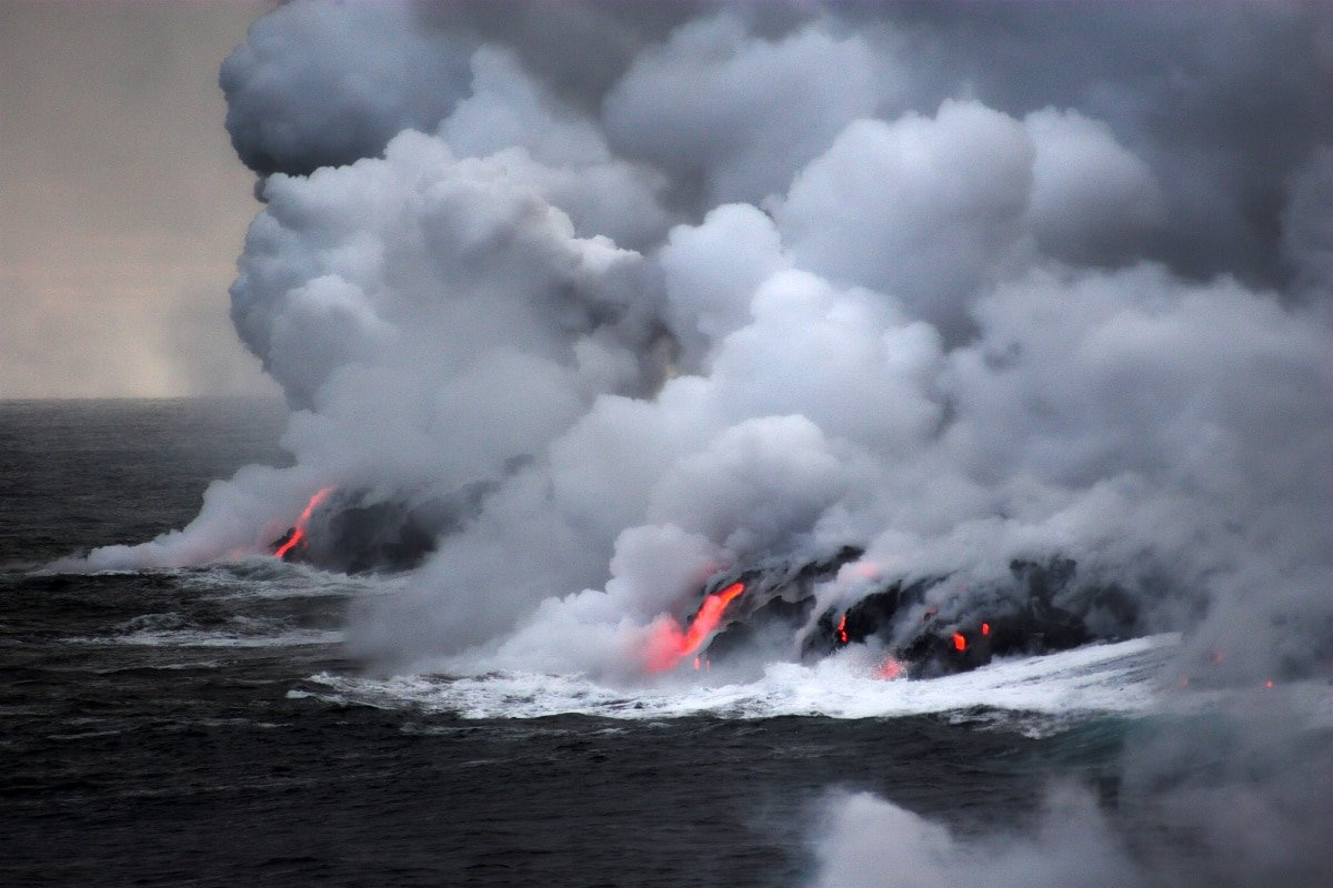 Lava flowing into the ocean from Kilauea eruption