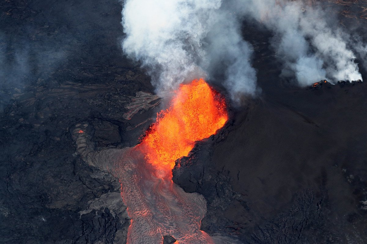 Aerial view of the volcanic eruption of volcano Kilauea in May 2018