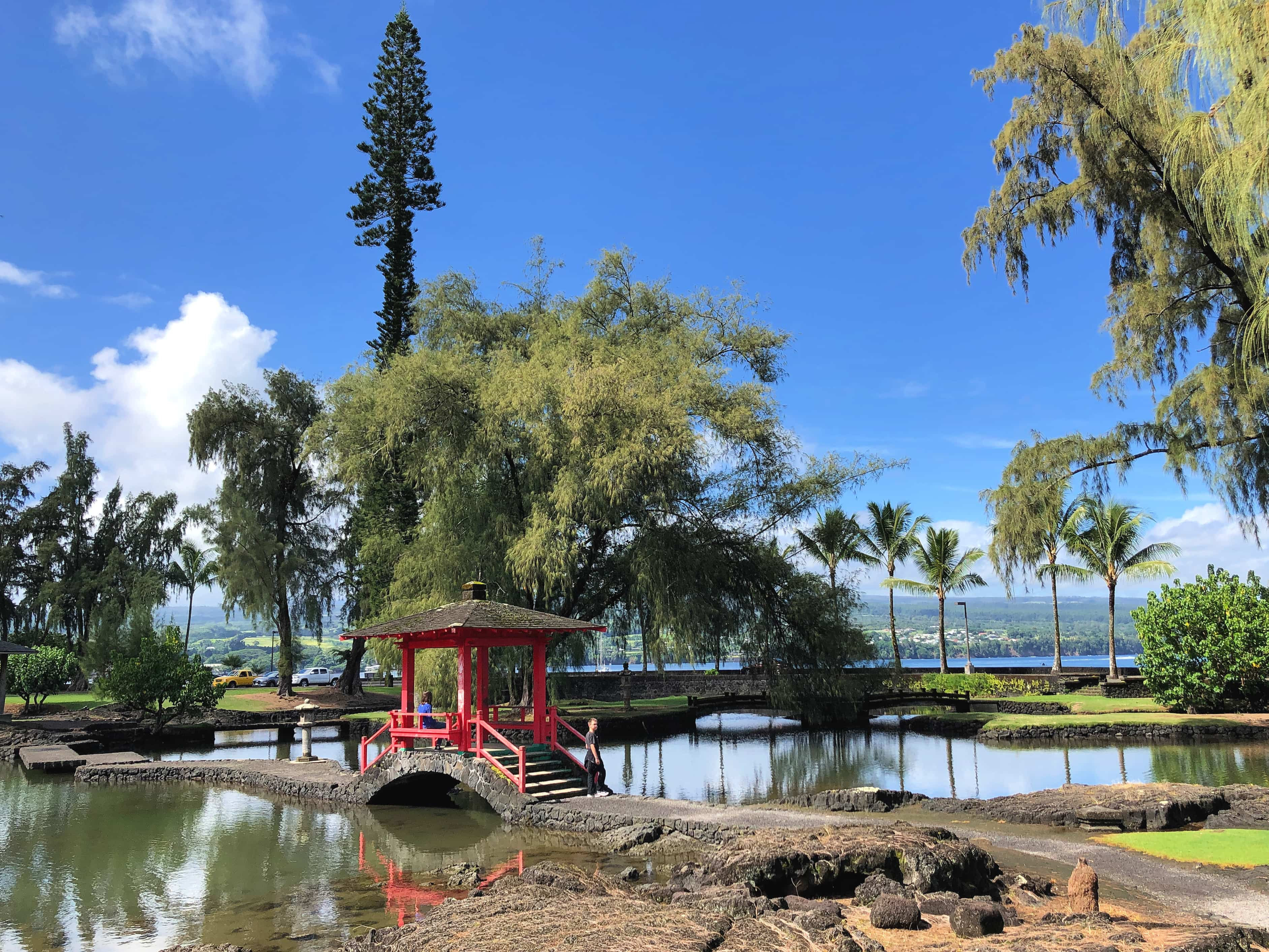 Queen Liliuokalani Gardens in Hilo is a great place for a picnic before your Volcanoes National Park visit