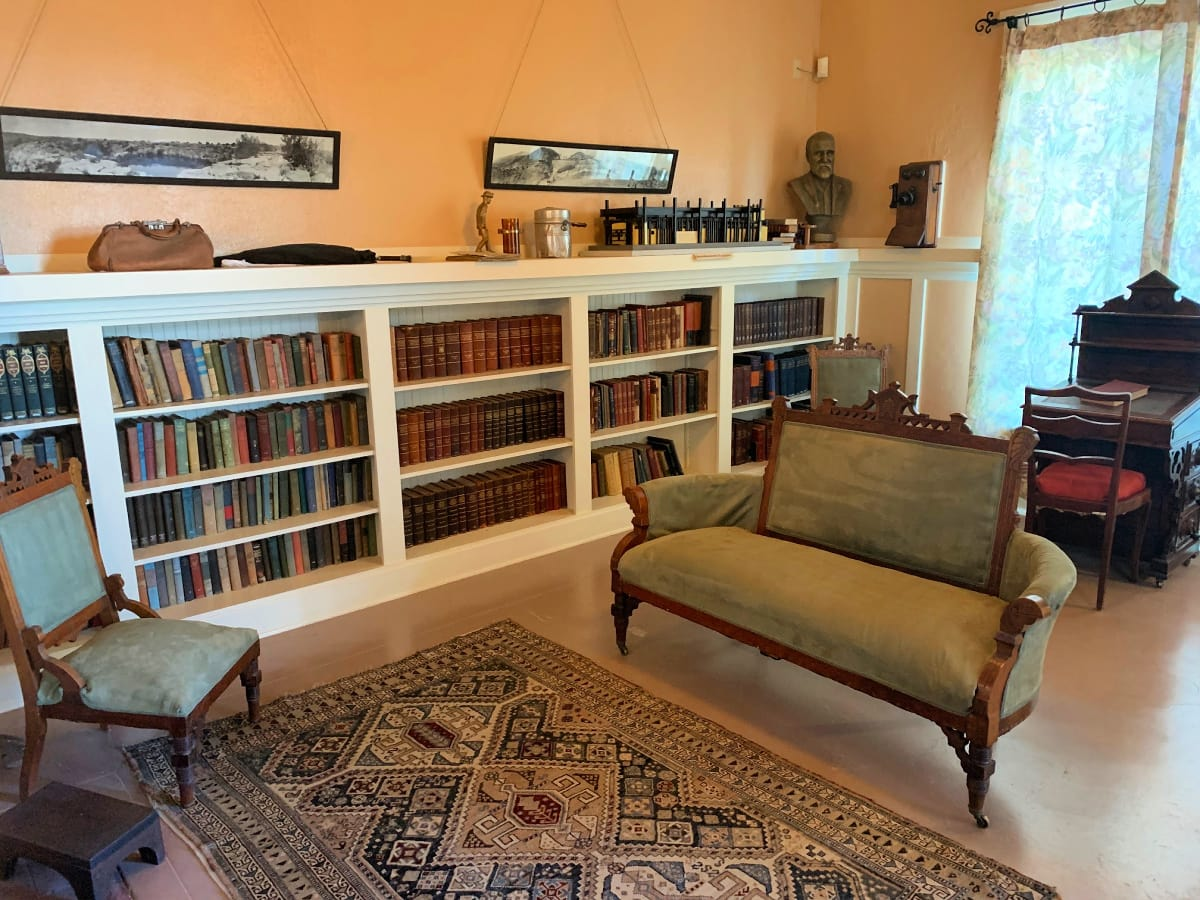 The Douglas Library is the only room in the Douglas Mansion that has been restored as a period room in Jerome, Arizona