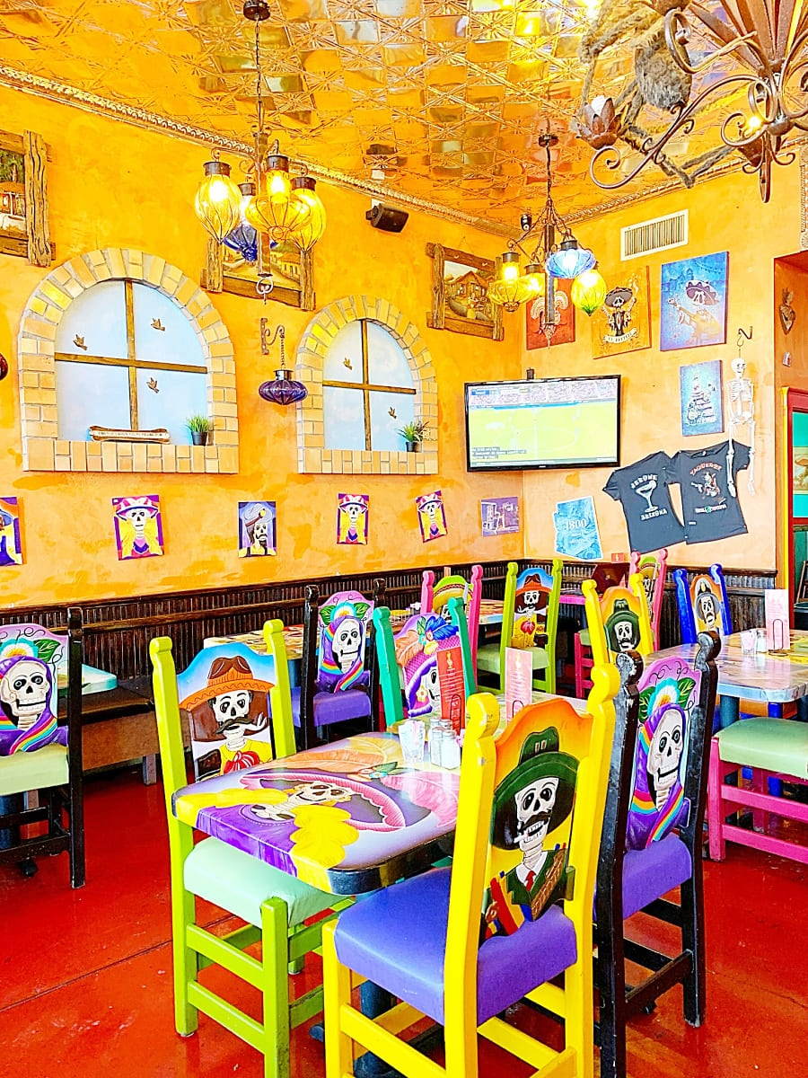 Day of the Dead décor at Vaqueros Grill & Cantina pleases kids in Jerome, AZ