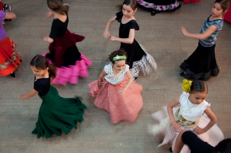 Children performing flamenco at the National Institute of Flamenco in Albuquerque, New Mexico