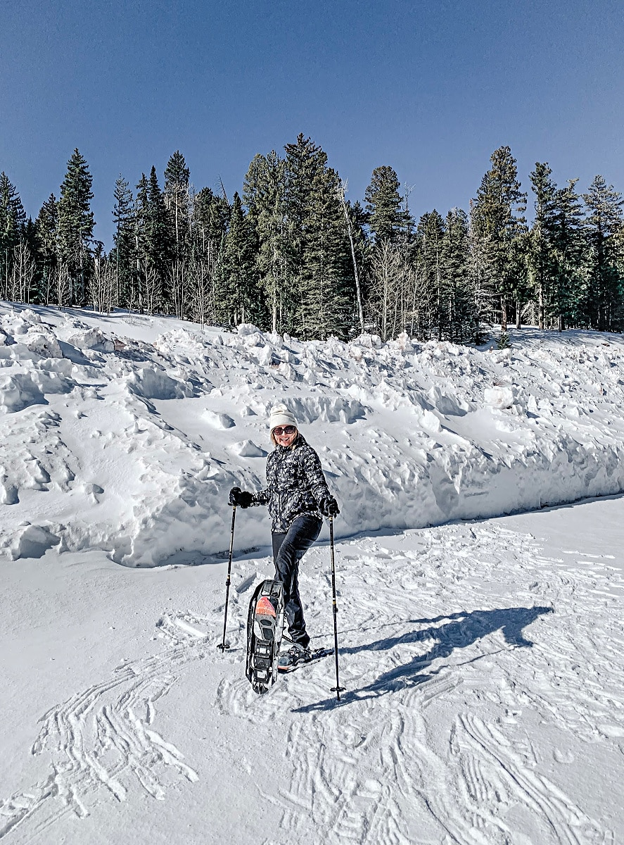 All set to snowshoe Sandia Peak in Albuquerque, New Mexico