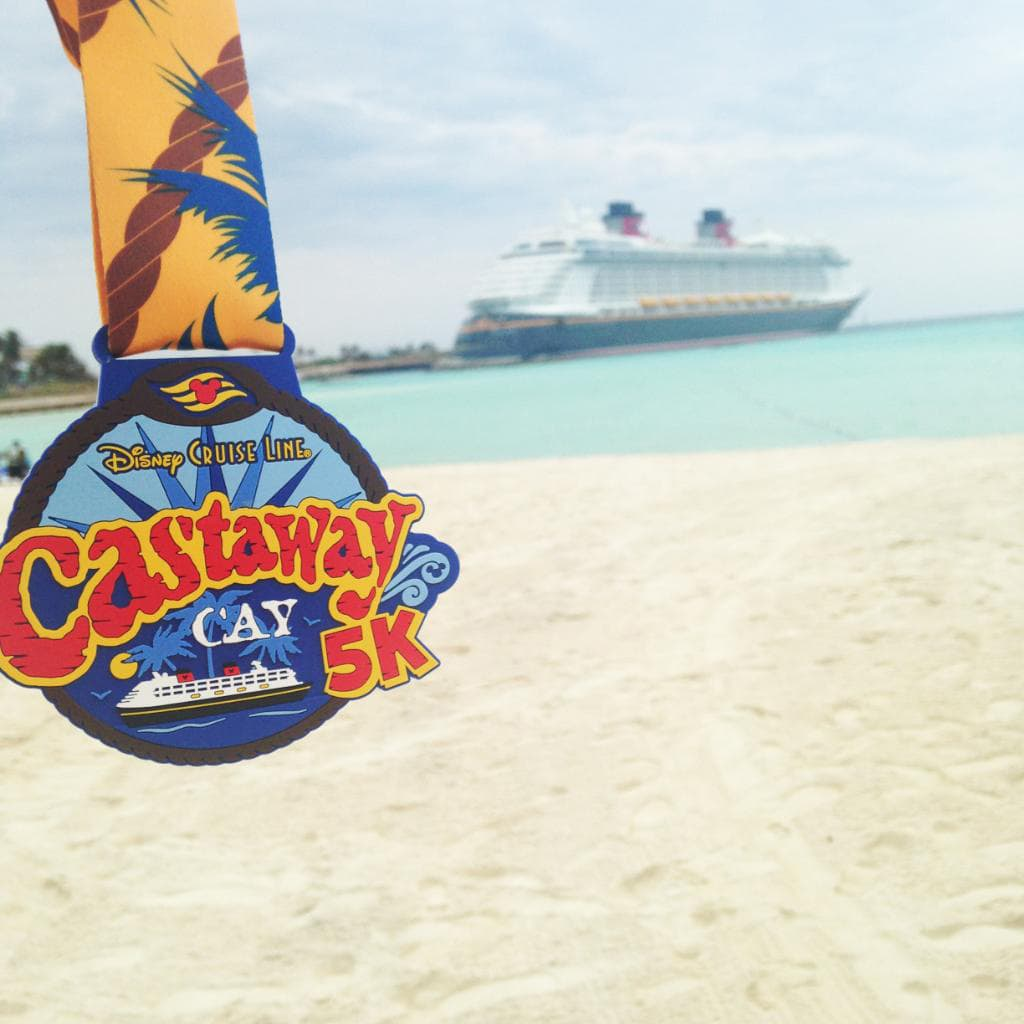 Every Castaway Cay 5K finisher gets to take home a special participant's medal as a souvenir