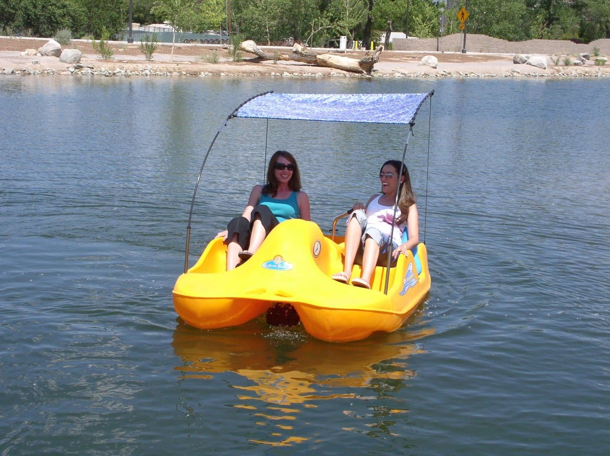 Rent pedal boats at Tingley Beach in Albuquerque with kids