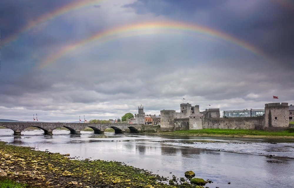 Rainbow over King John's Castle in Limerick, Ireland
