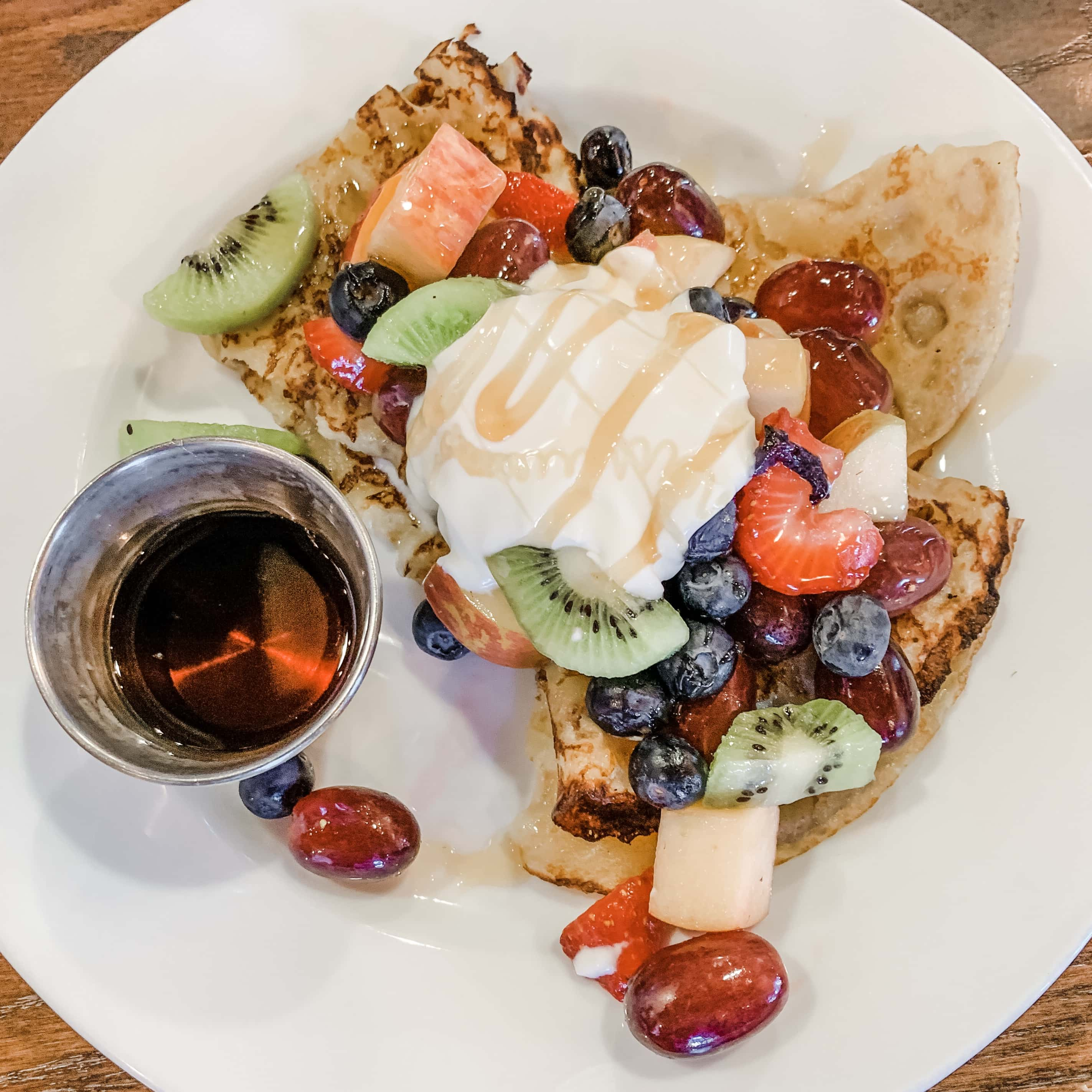 The Grove's farm to table fruit-topped pancakes in Albuquerque