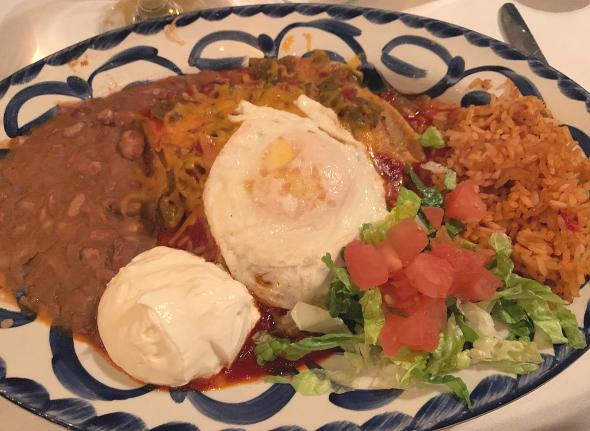 Enchiladas topped with a pasture-raised egg at El Pinto in Albuquerque, New Mexico