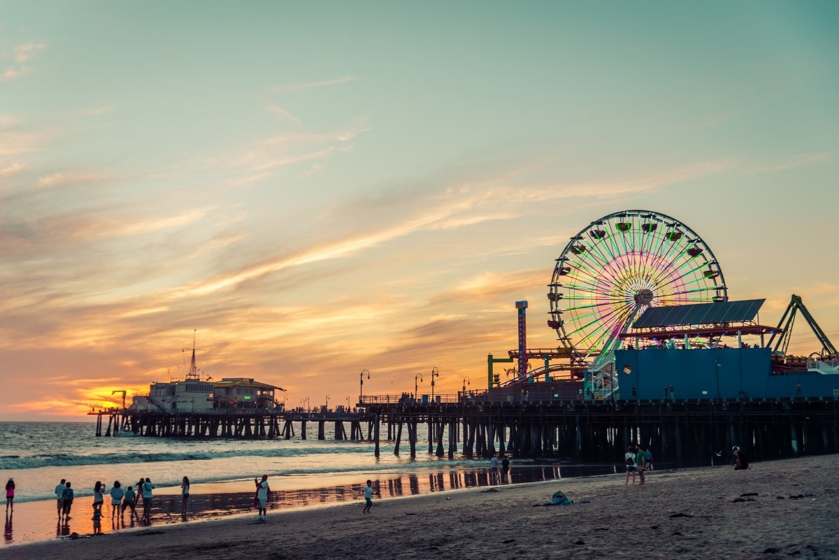 Santa Monica Beach & Pier in California