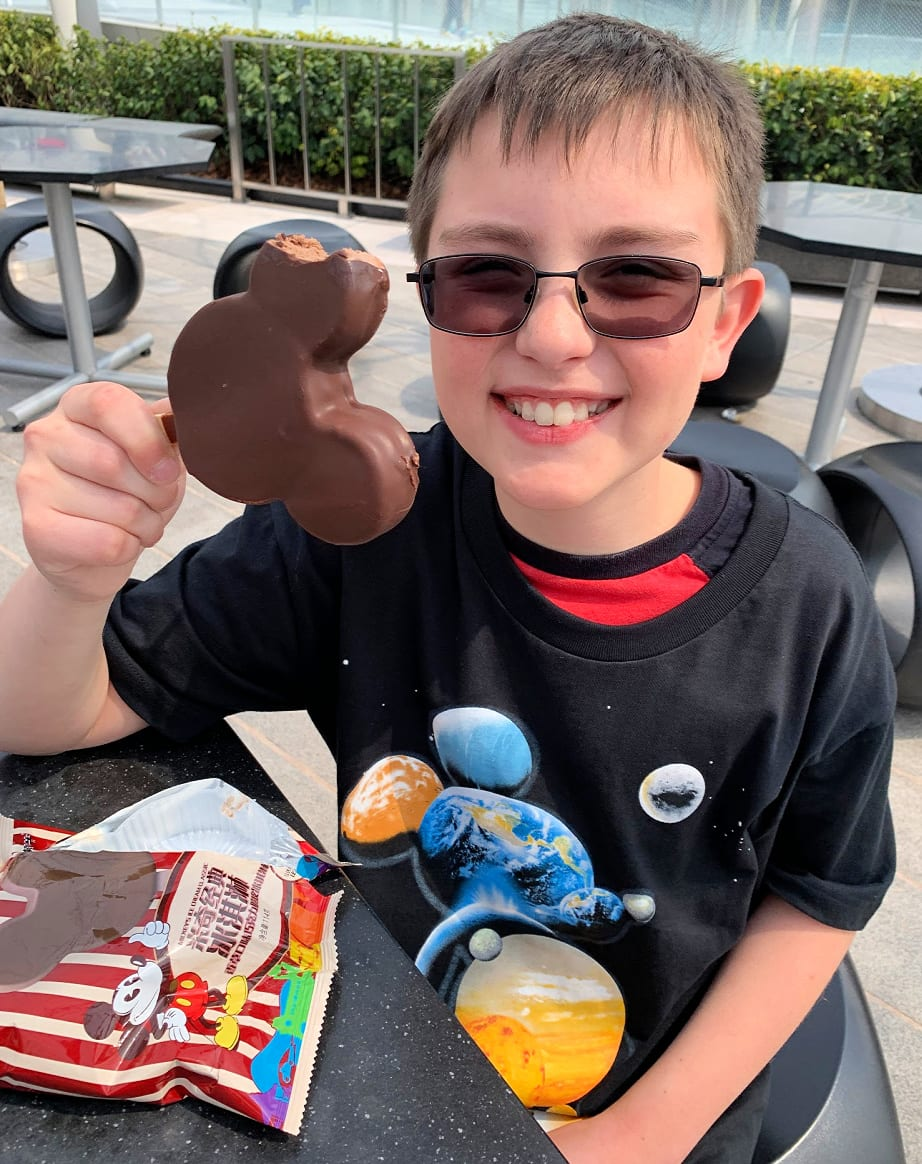 Mickey Mouse ice cream treat at Shanghai Disneyland