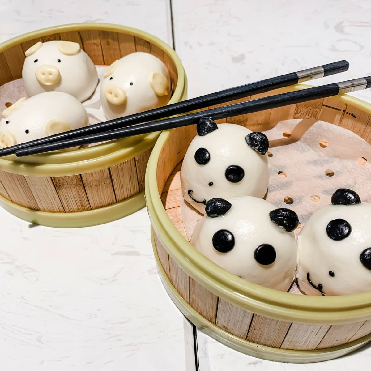 Animal-shaped red bean steamed buns from Crystal Jade in Disneytown Shanghai Disneyland
