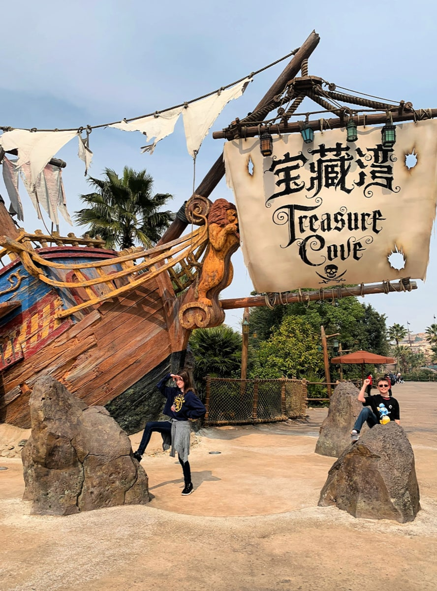Pirate-themed Treasure Cove at Shanghai Disneyland with kids