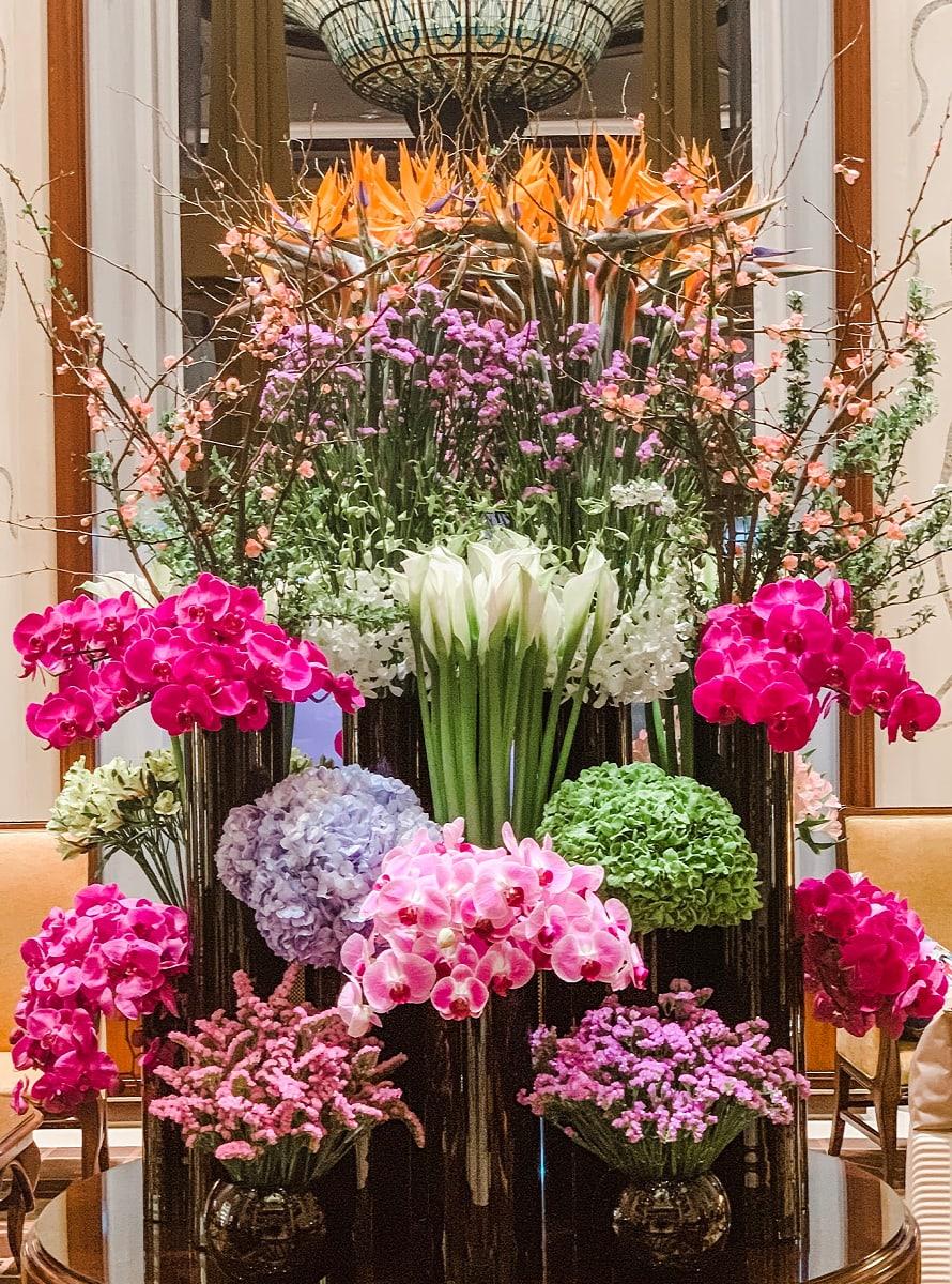 Gorgeous fresh cut flowers at Shanghai Disneyland Hotel