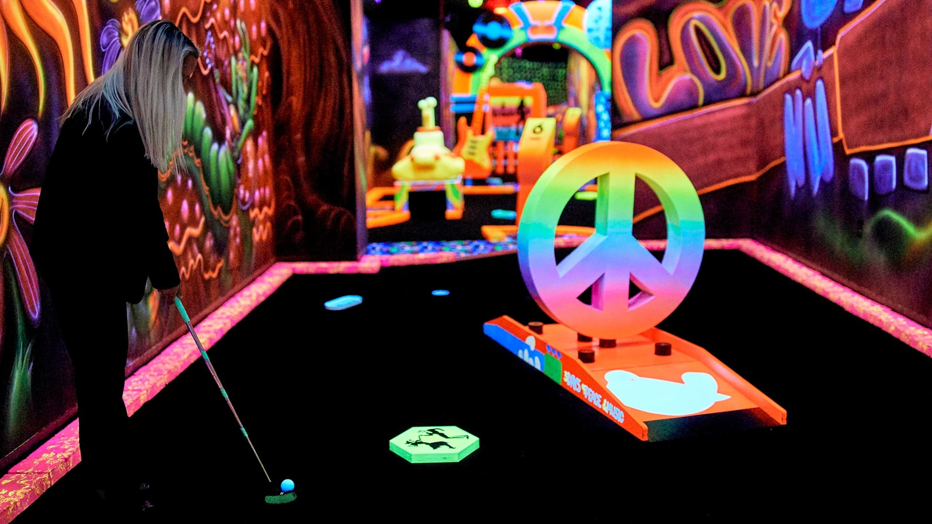 Rock of Ages Blacklight Minigolf at Mall of America