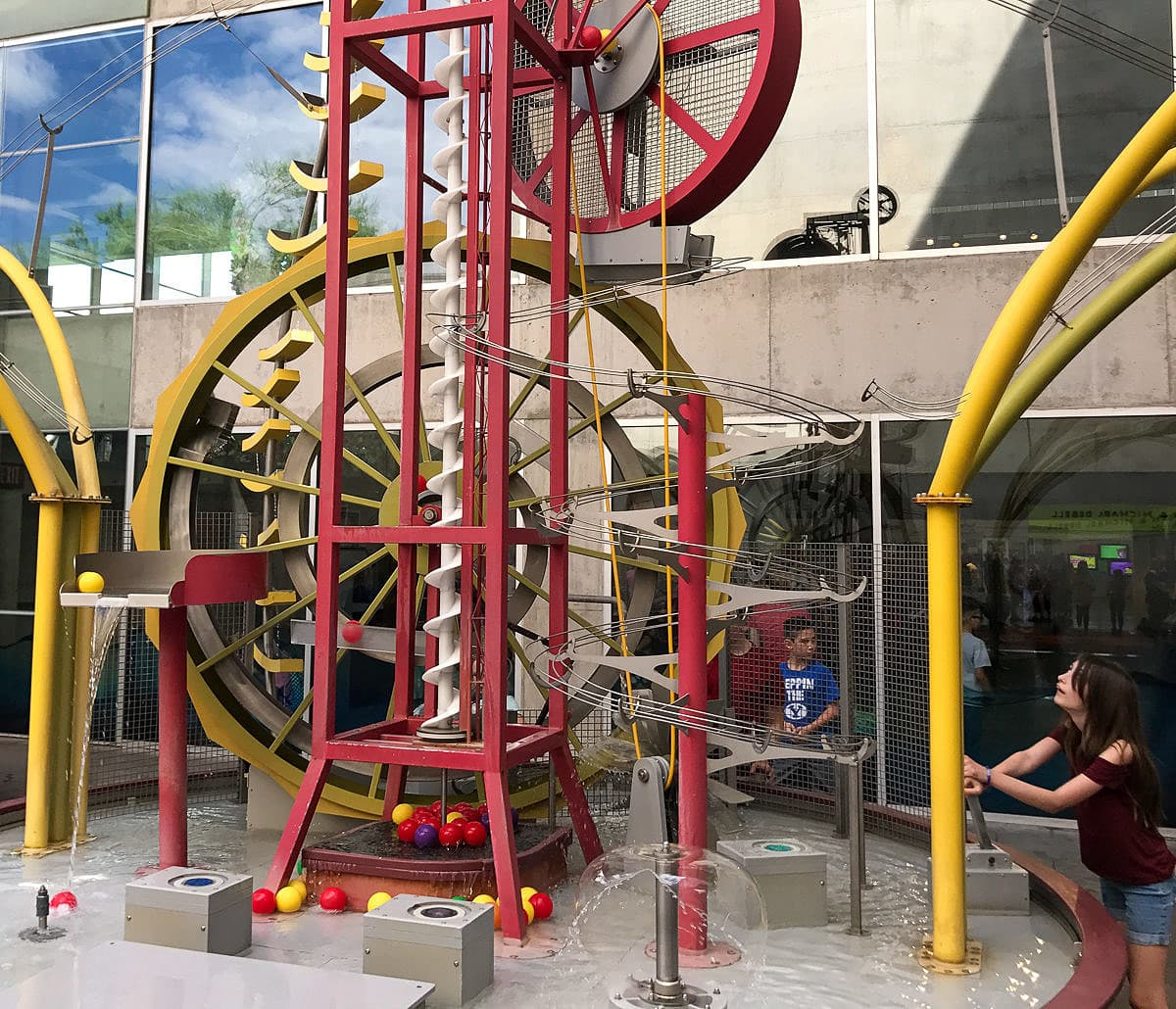 An outdoor exhibit at the Arizona Science Center in Phoenix with kids