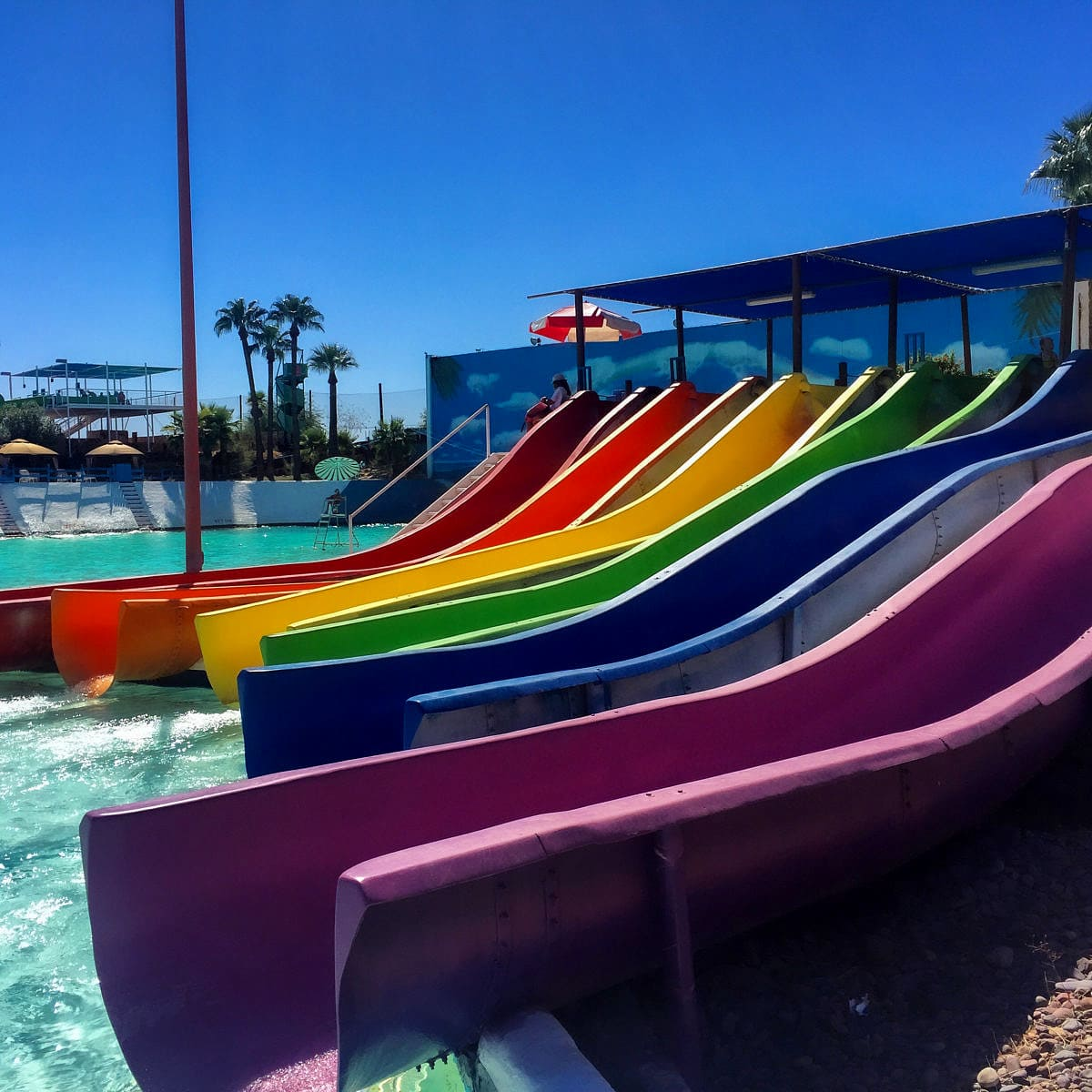 A rainbow of waterslides at Big Surf Water Park