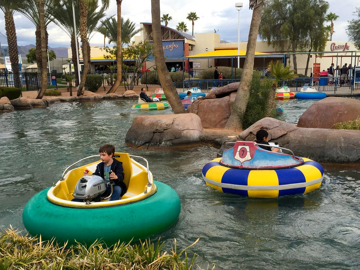 Bumper Boats at Crackerjax in Scottsdale with kids