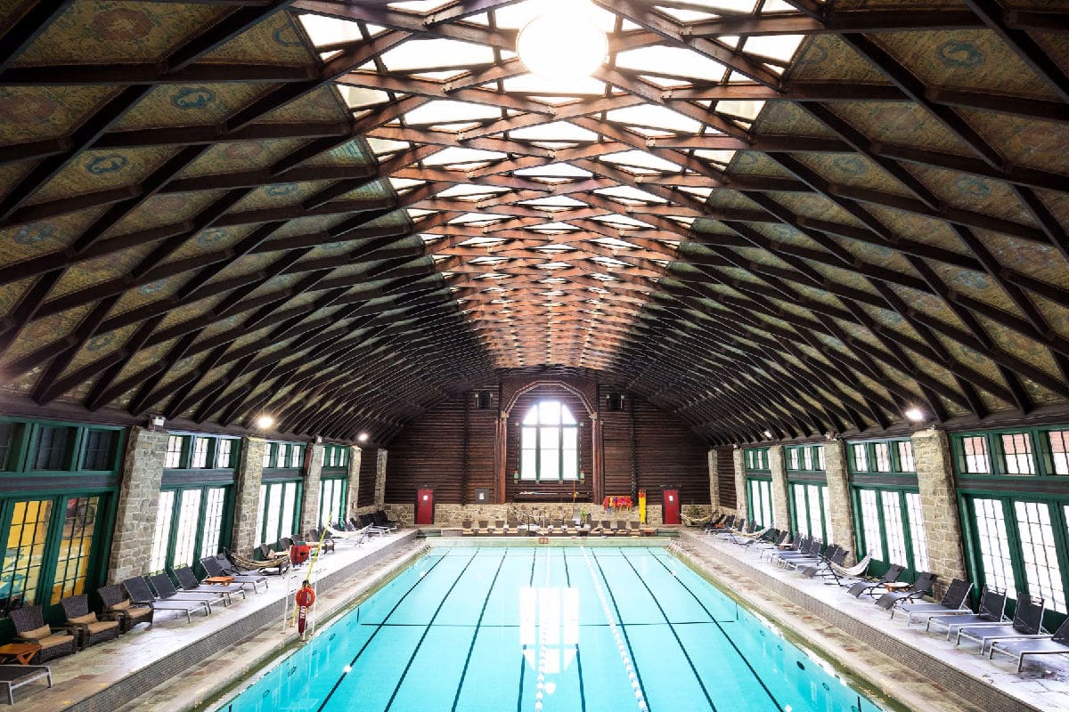 Fairmont Le Château Montebello's indoor pool in Montebello, Quebec