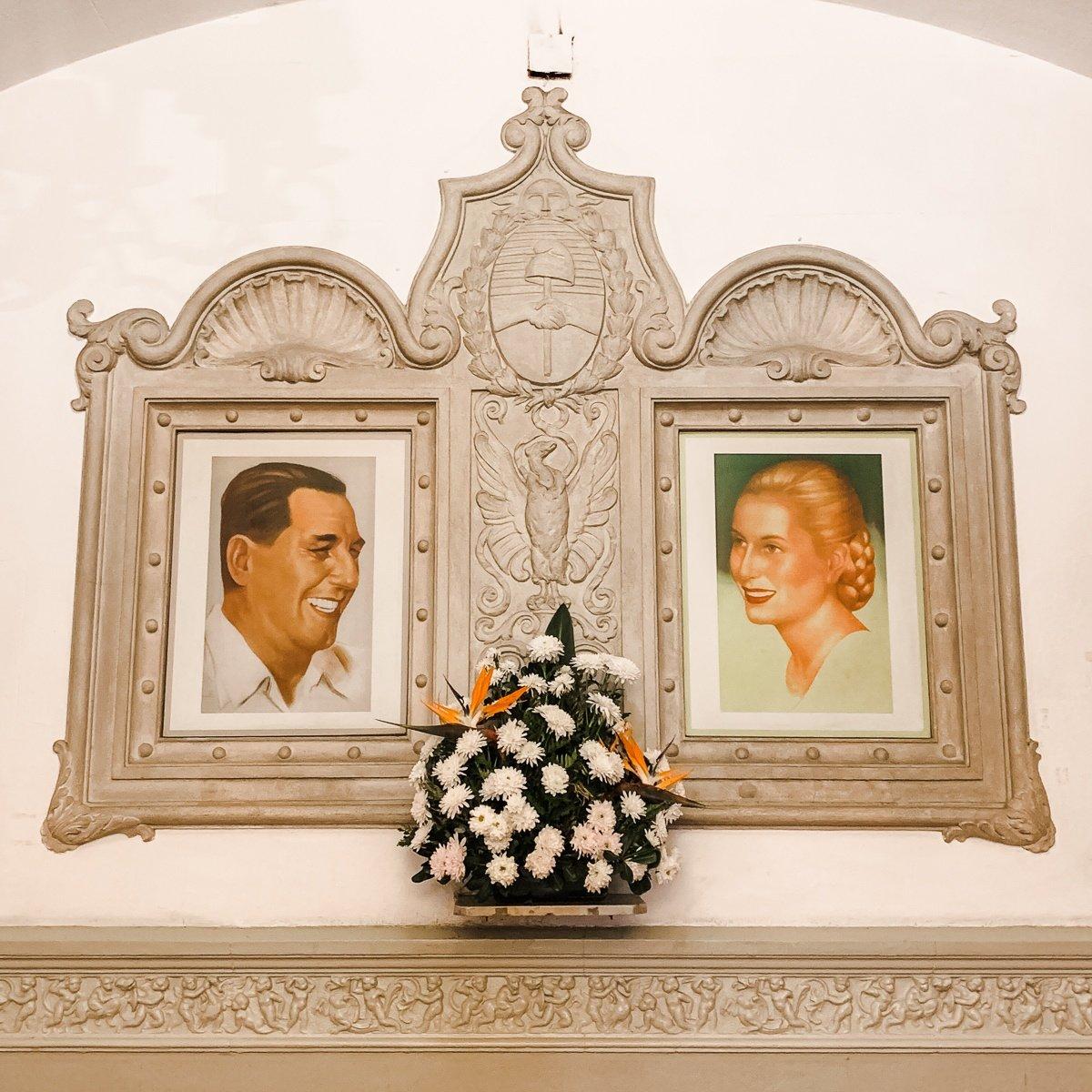 Portraits of Juan and Evita Perón at Museo Evita