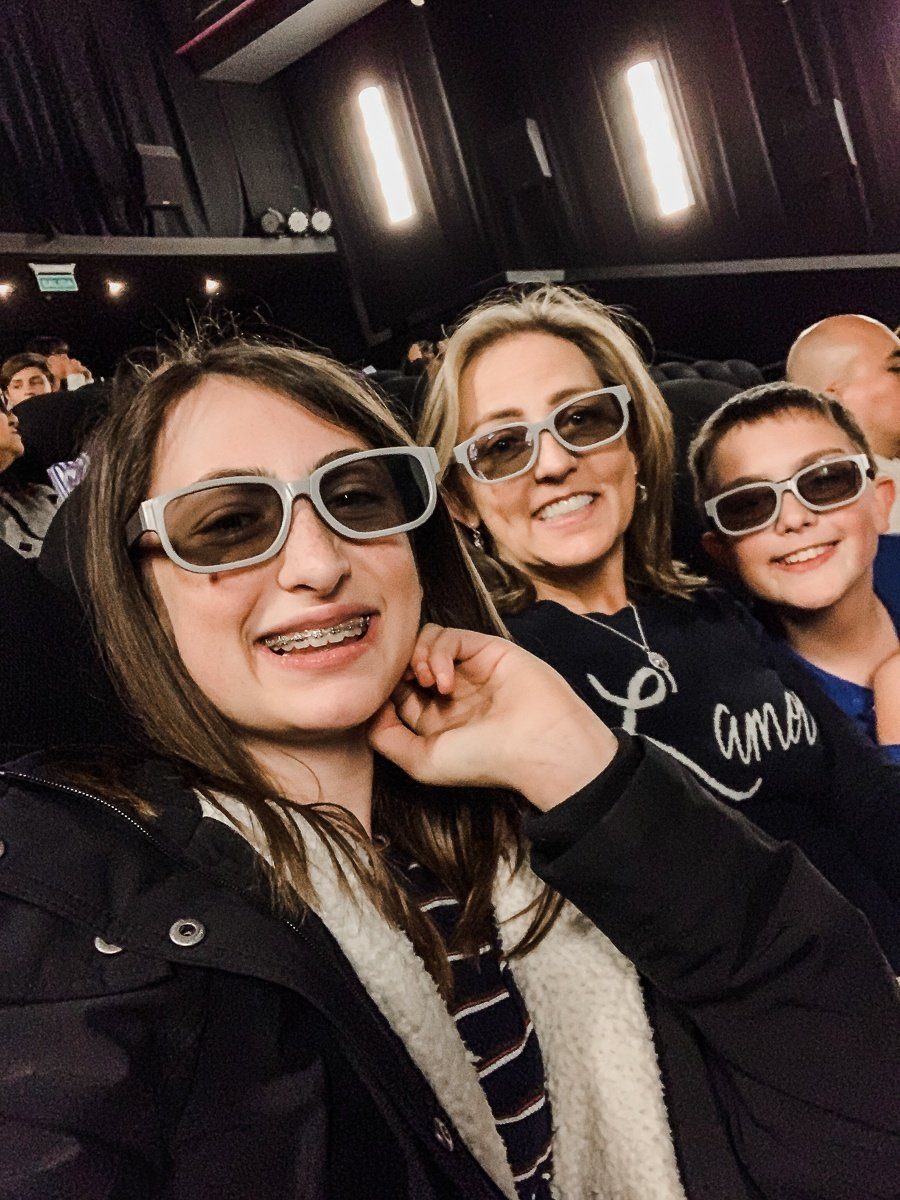Watching a 4D movie in Buenos Aires with kids