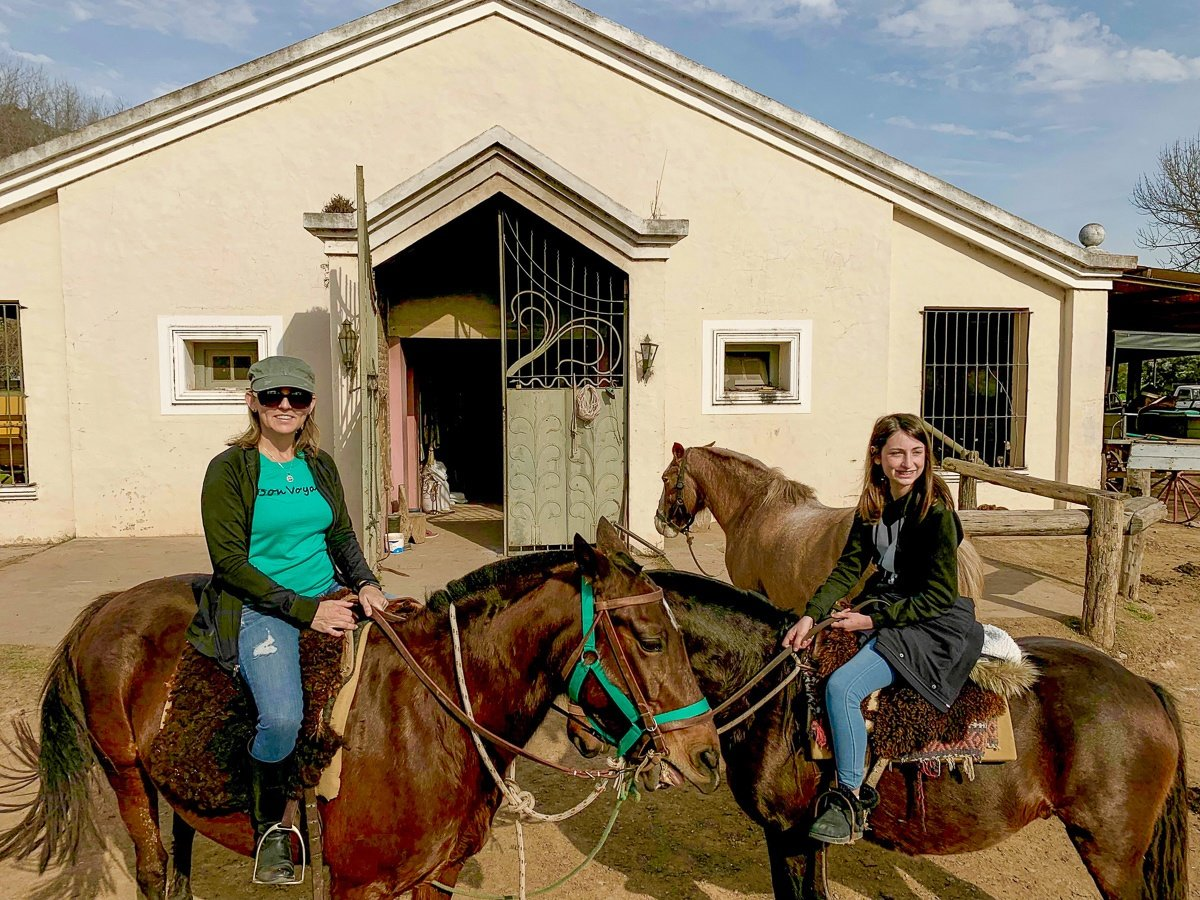 Riding horses at Estancia Ombu de Areco